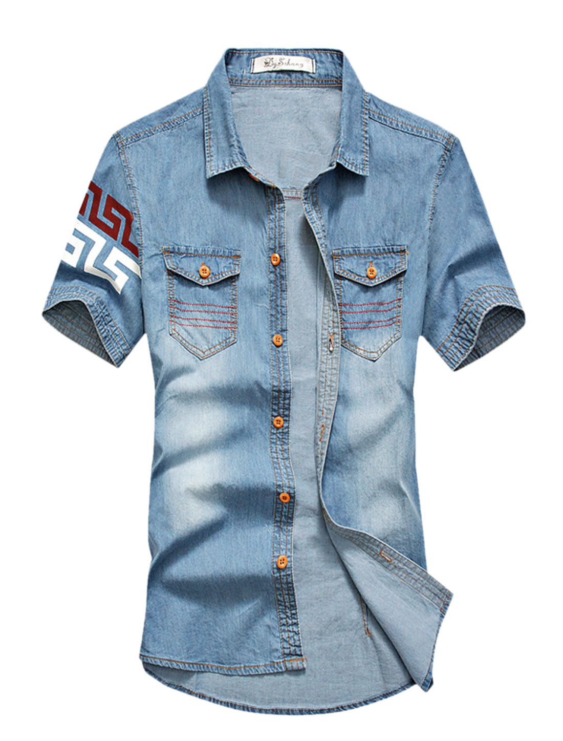 Men Novelty Prints Detail Flap Pockets Front Denim Shirt Dark Blues