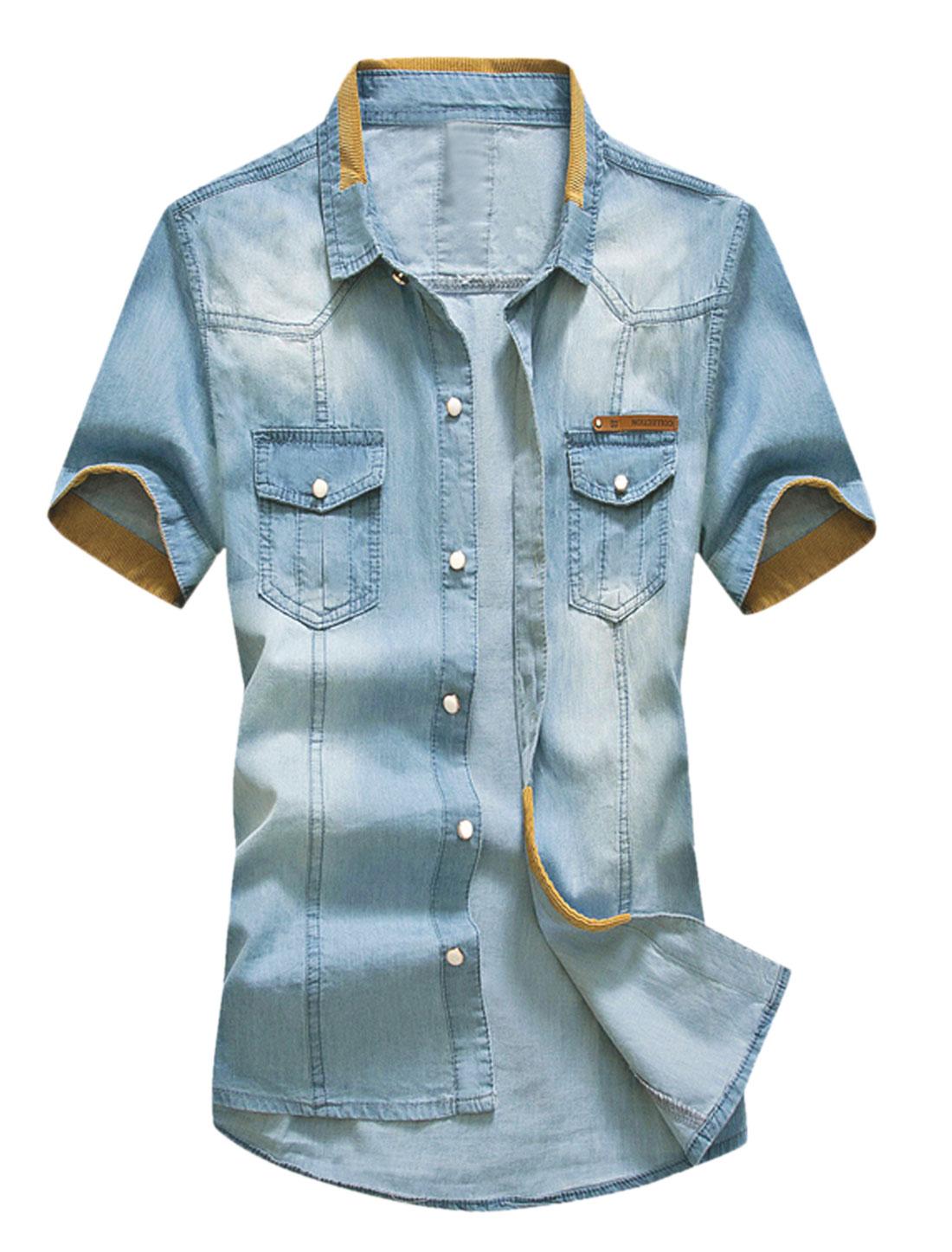 Men Button Down Chest Pockets Panel Detail Denim Shirt Light Blue Ochre S