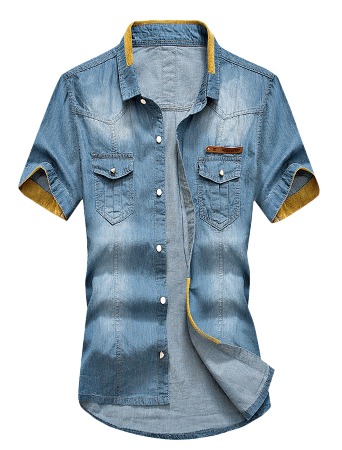Men Button Down Short Sleeves Panel Denim Shirt Dark Blue Ochre S