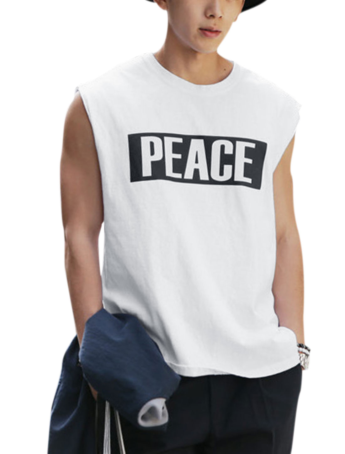 Men Letters Prints Round Neck Sleeveless Casual Tops White S