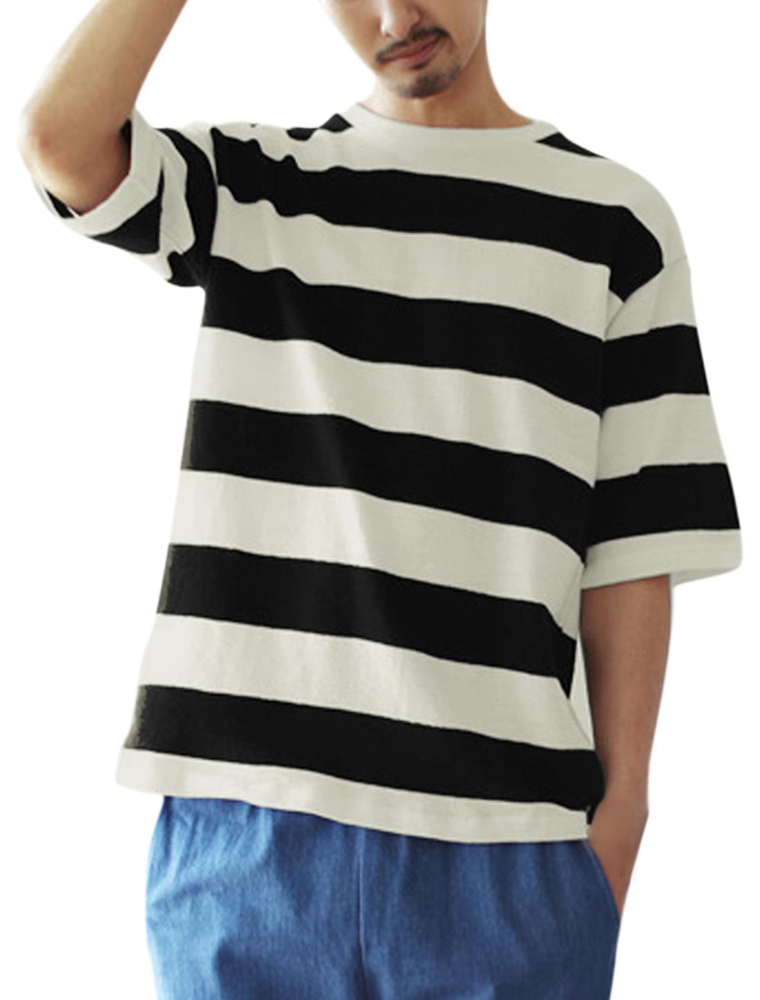 Men Short Sleeves Bold Stripes Paneled Neckline T-Shirts Black White S