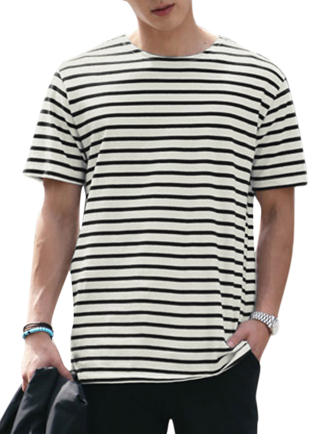 Men Short Sleeves Horizontal Stripes T-Shirts Black Off White S