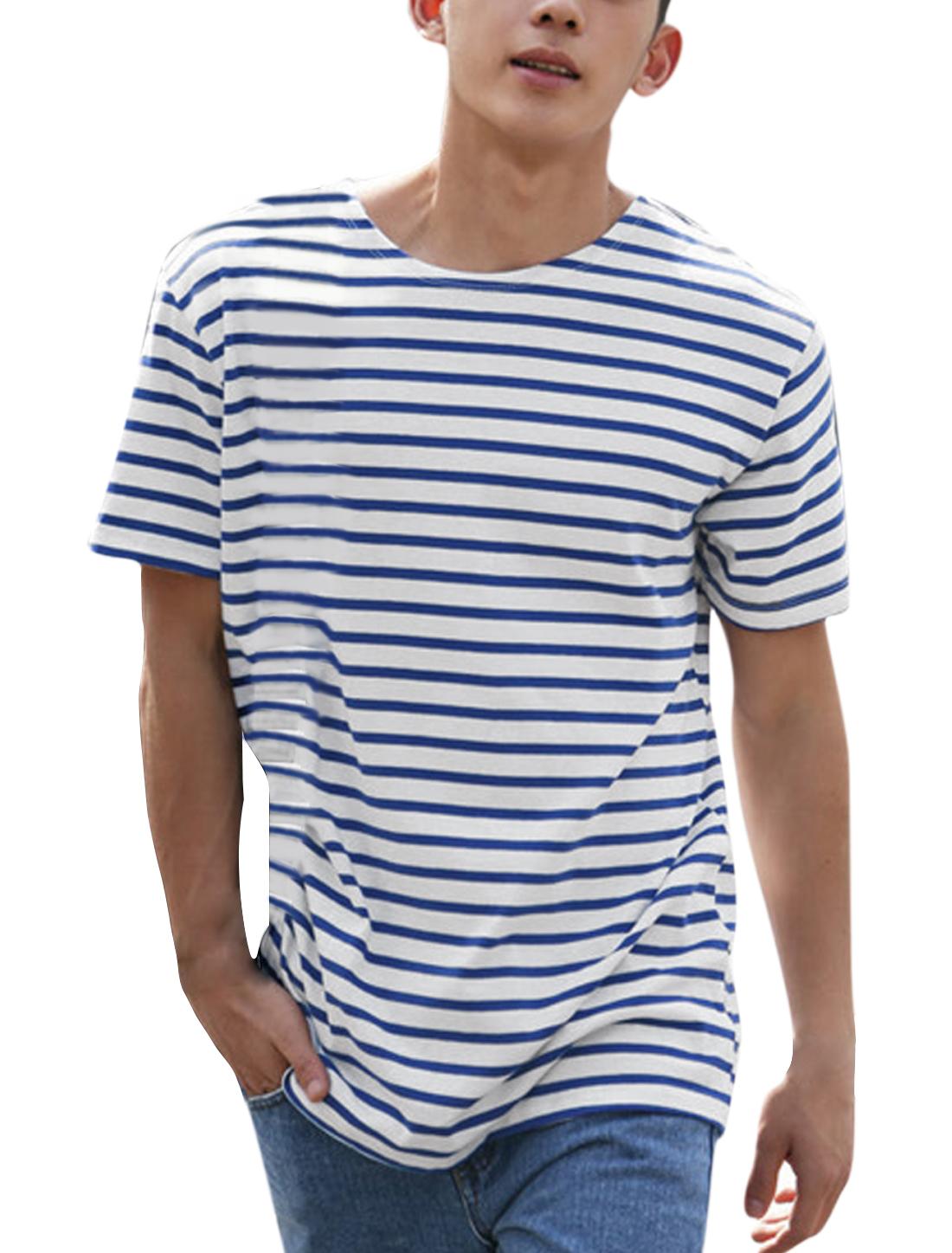 Men Short Sleeves Striped Tee Shirts Blue White S