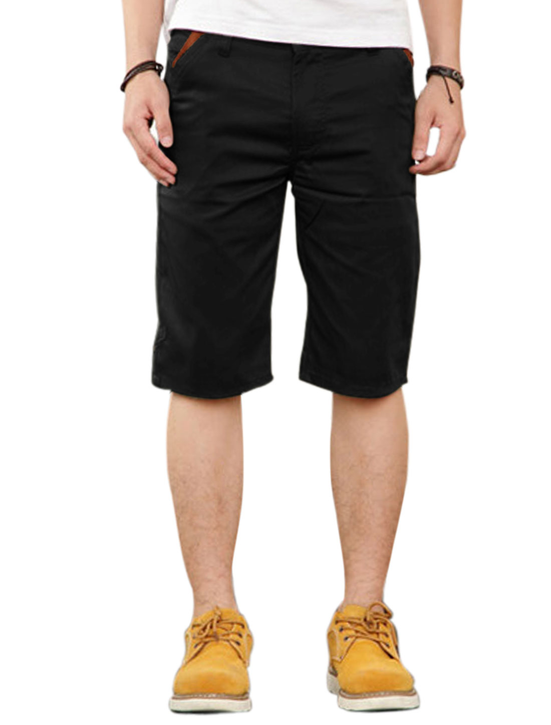 Men Mid Rise Zip Fly Contrast Color Casual Shorts Black W30