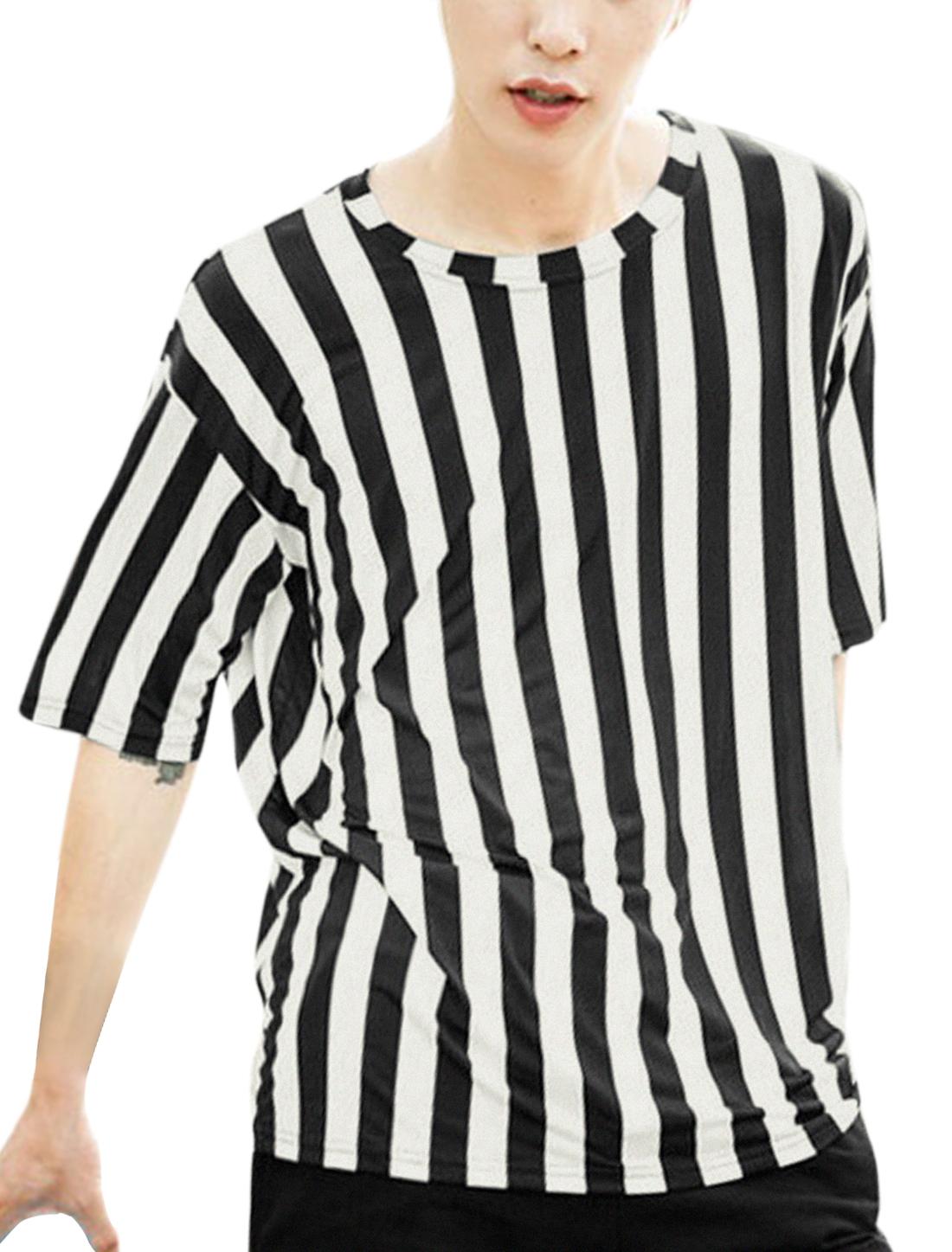 Men Vertical Stripes Short Sleeves Drop Shoulder Tops Black White S