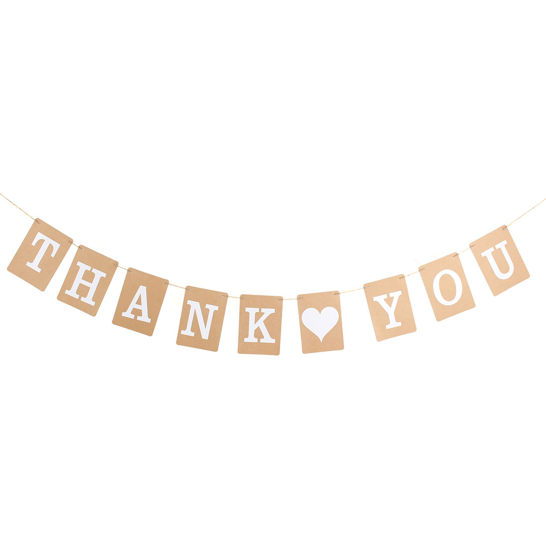 THANK YOU Wedding Engagement Banner Decoration Bunting Garland Photo Props Khaki