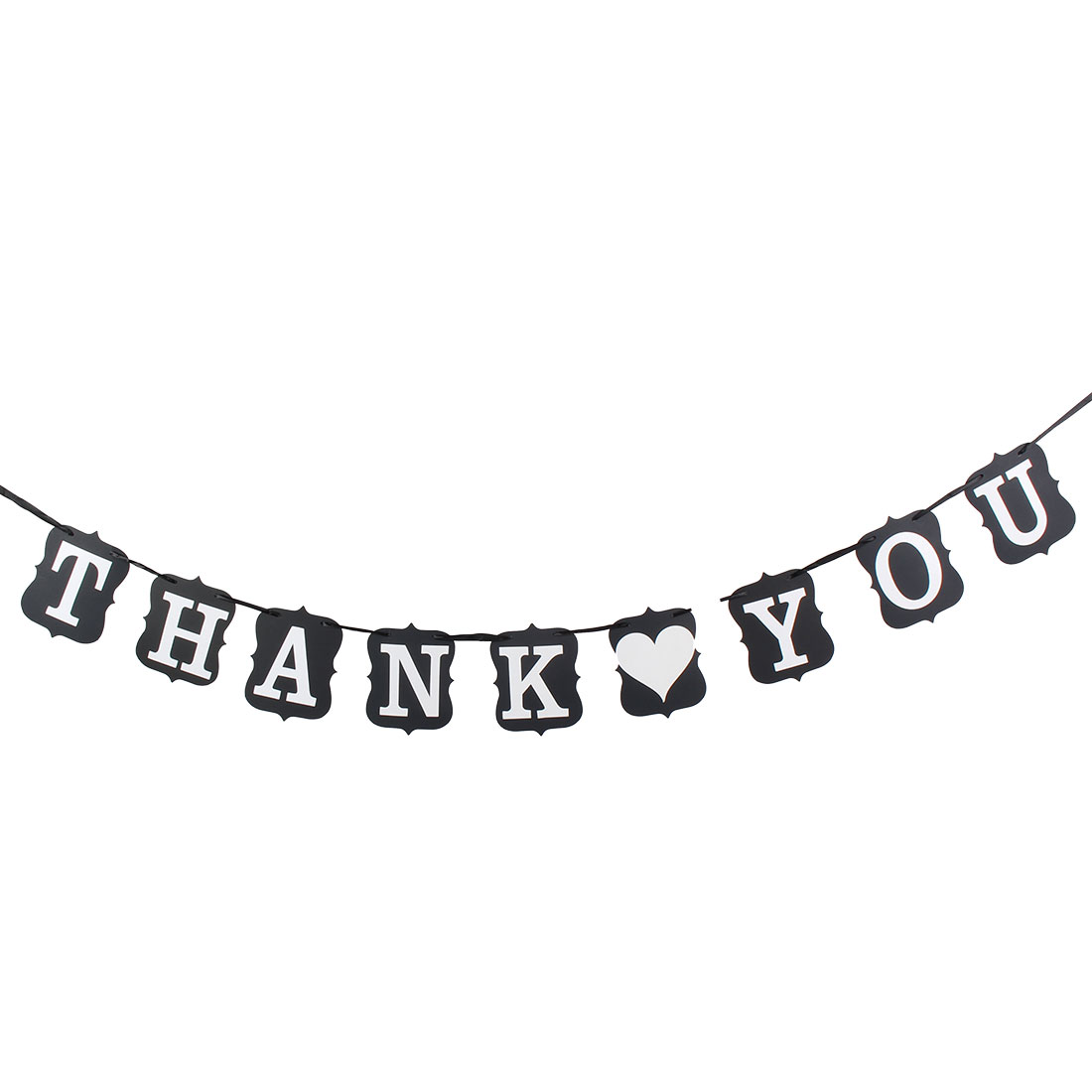 Wedding Card Bunting Banner THANK YOU Letter Vintage Style Venue Decoration Photo Prop Black