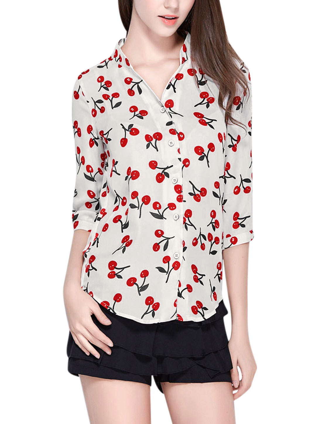 Woman Cherry Pattern Stand Collar 3/4 Roll Up Sleeves Shirt White M