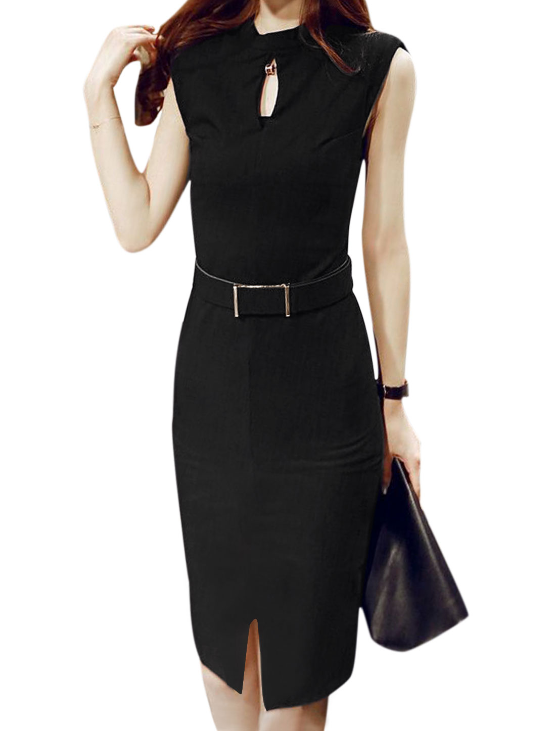 Women Stand Collar Keyhole Front Split Hem Sheath Dress w Belt Black M