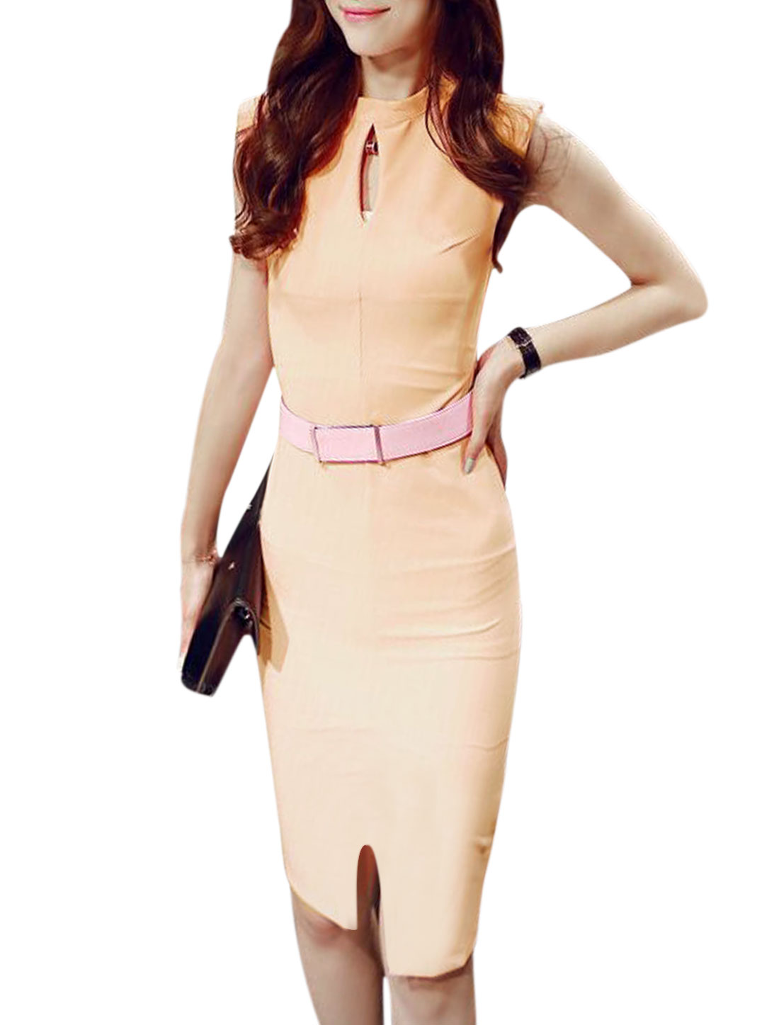 Ladies Sleeveless Keyhole Front Split Hem Bodycon Dress w Belt Pale Pink M