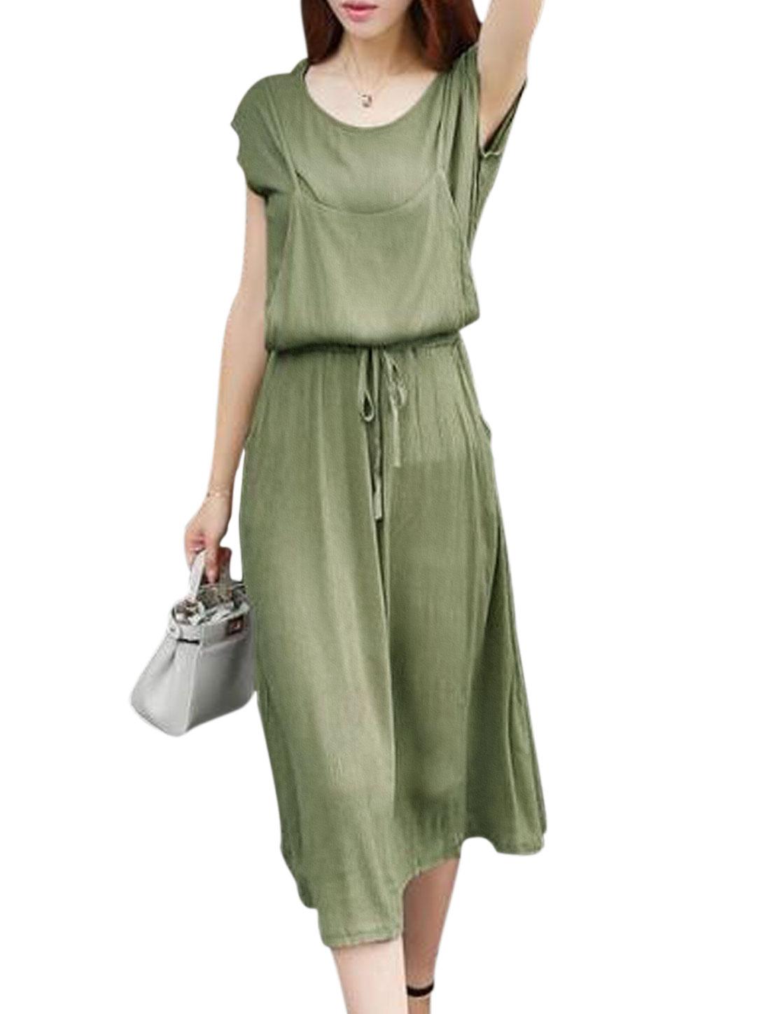 Lady Layered Drawstring Waist Short Sleeves Midi Dress Army Green S