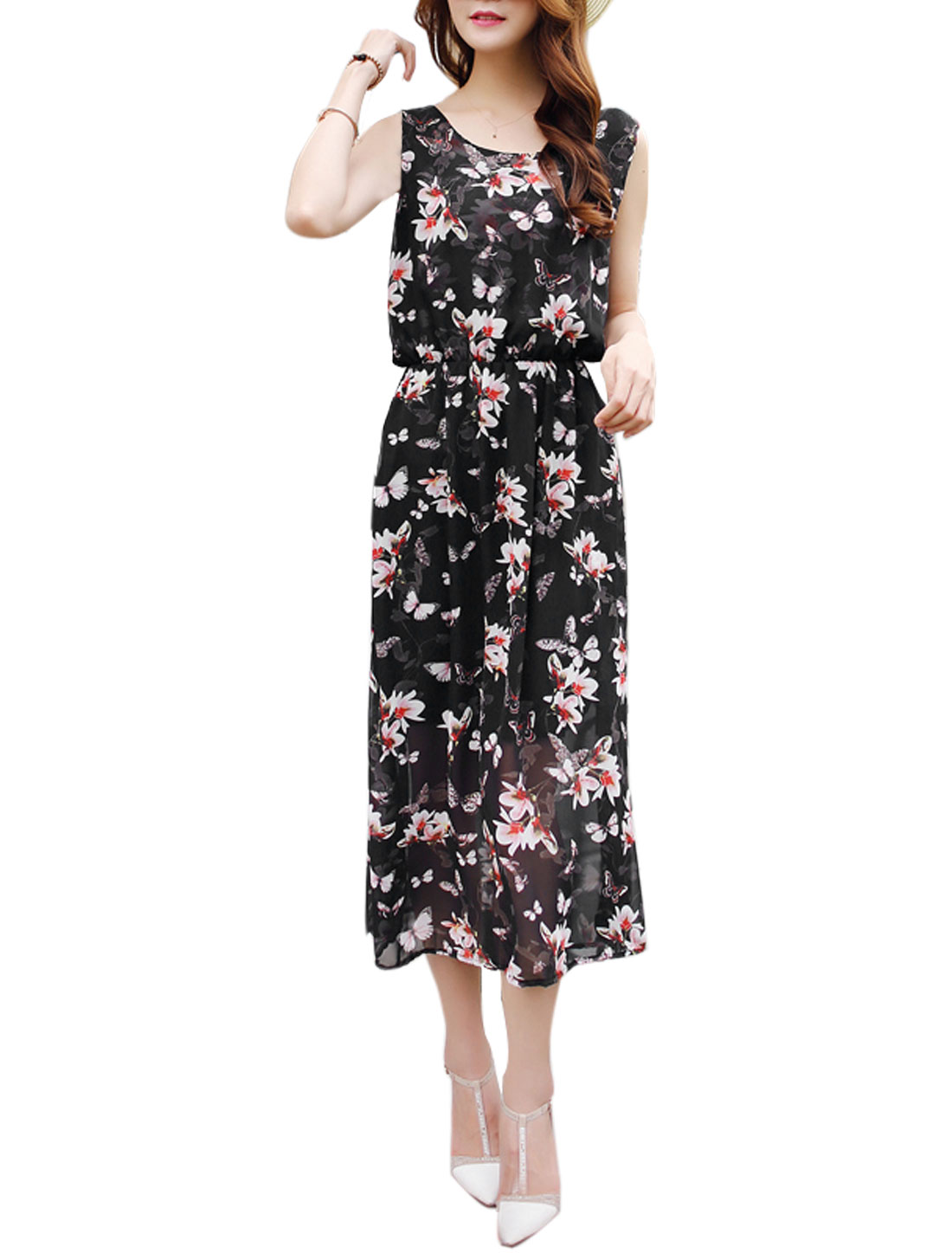 Ladies Sleeveless Floral Print Fully Lined Dress Black Fuchsia M
