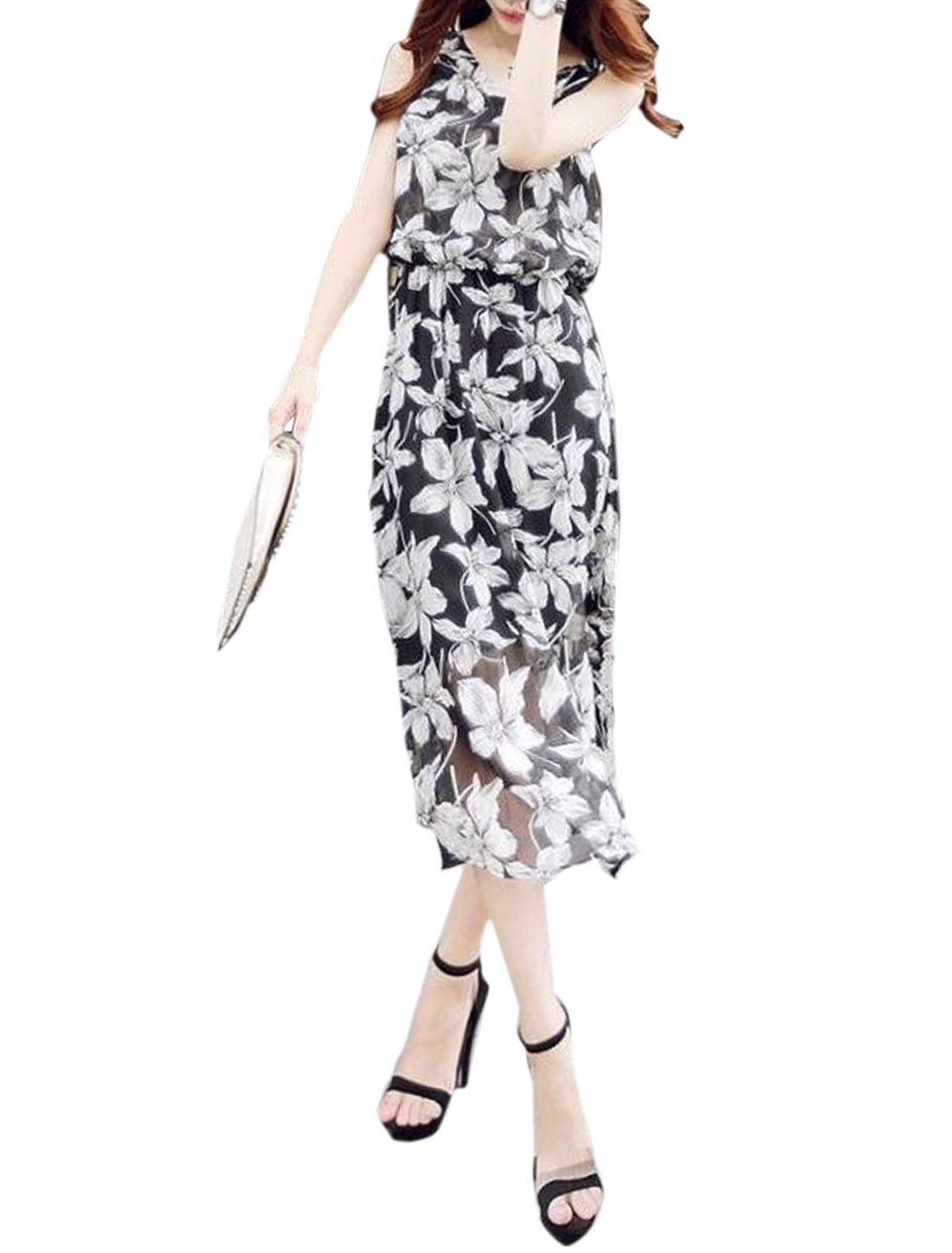 Women Floral Print Fully Lined Casual Dresses Black White M