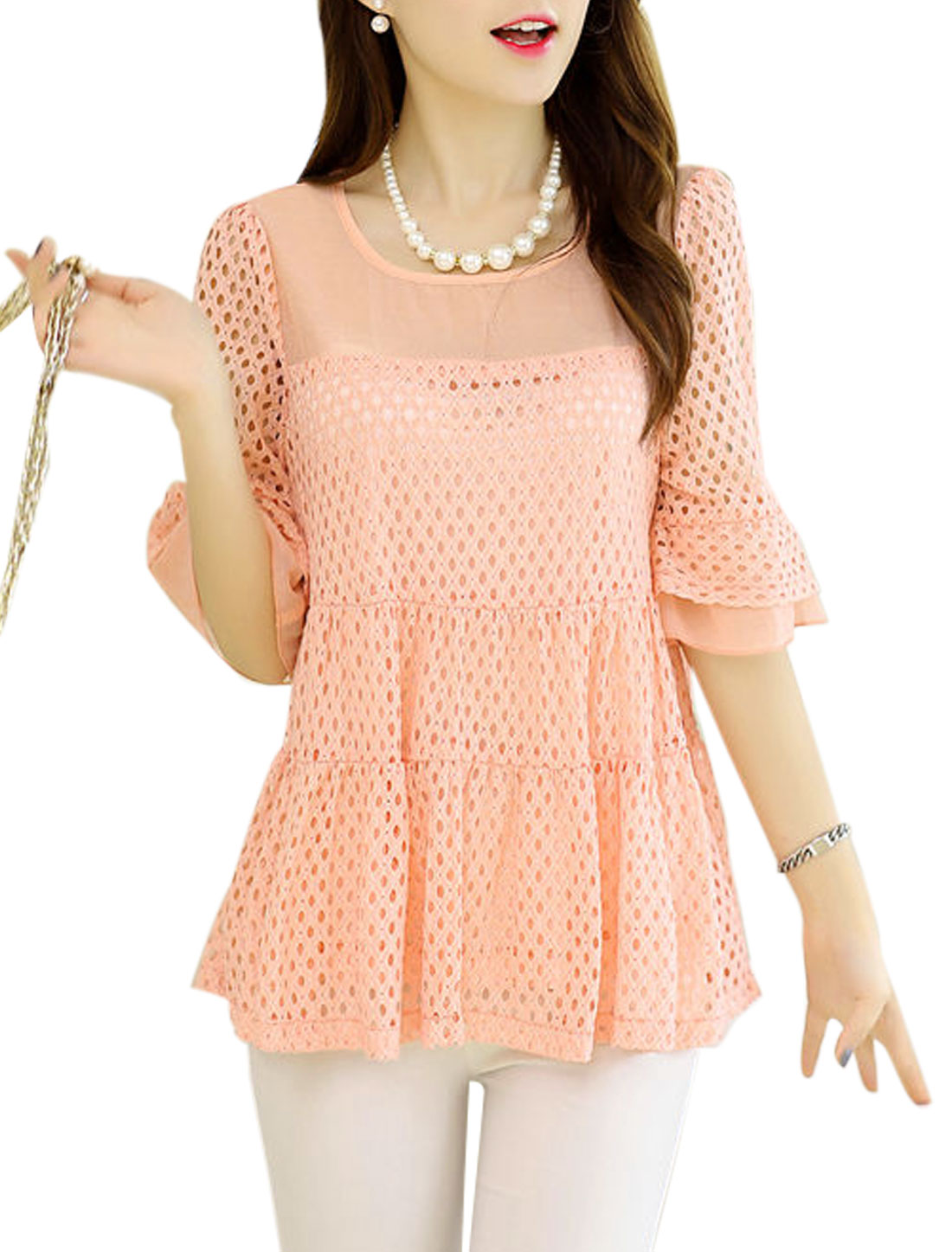 Women Round Neck Hollow Out Panel Casual Tunic Shirt Pink M