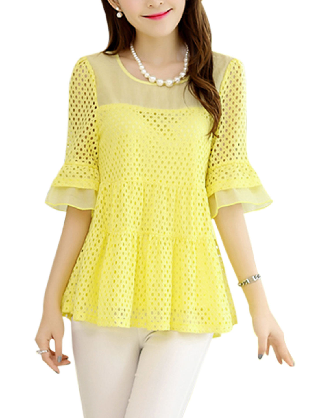 Ladies Round Neck Hollow Out Panel Blouses Tops Light Yellow M