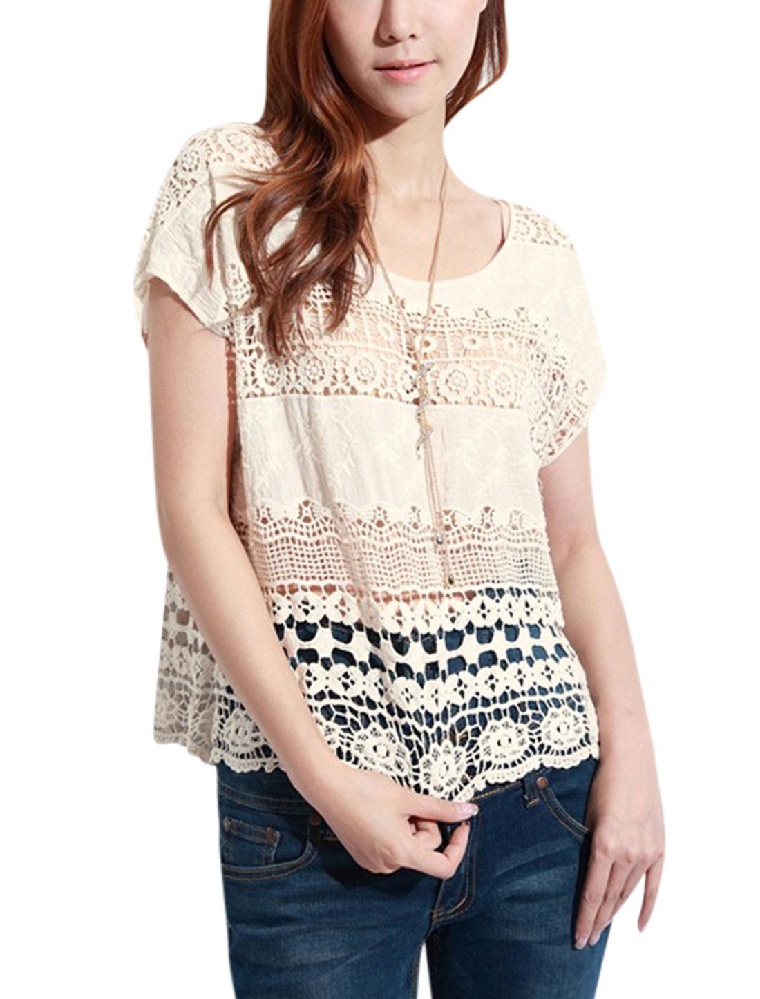 Woman Crochet Design Hollow Out Scoop Neck Lace Crop Top Beige XS