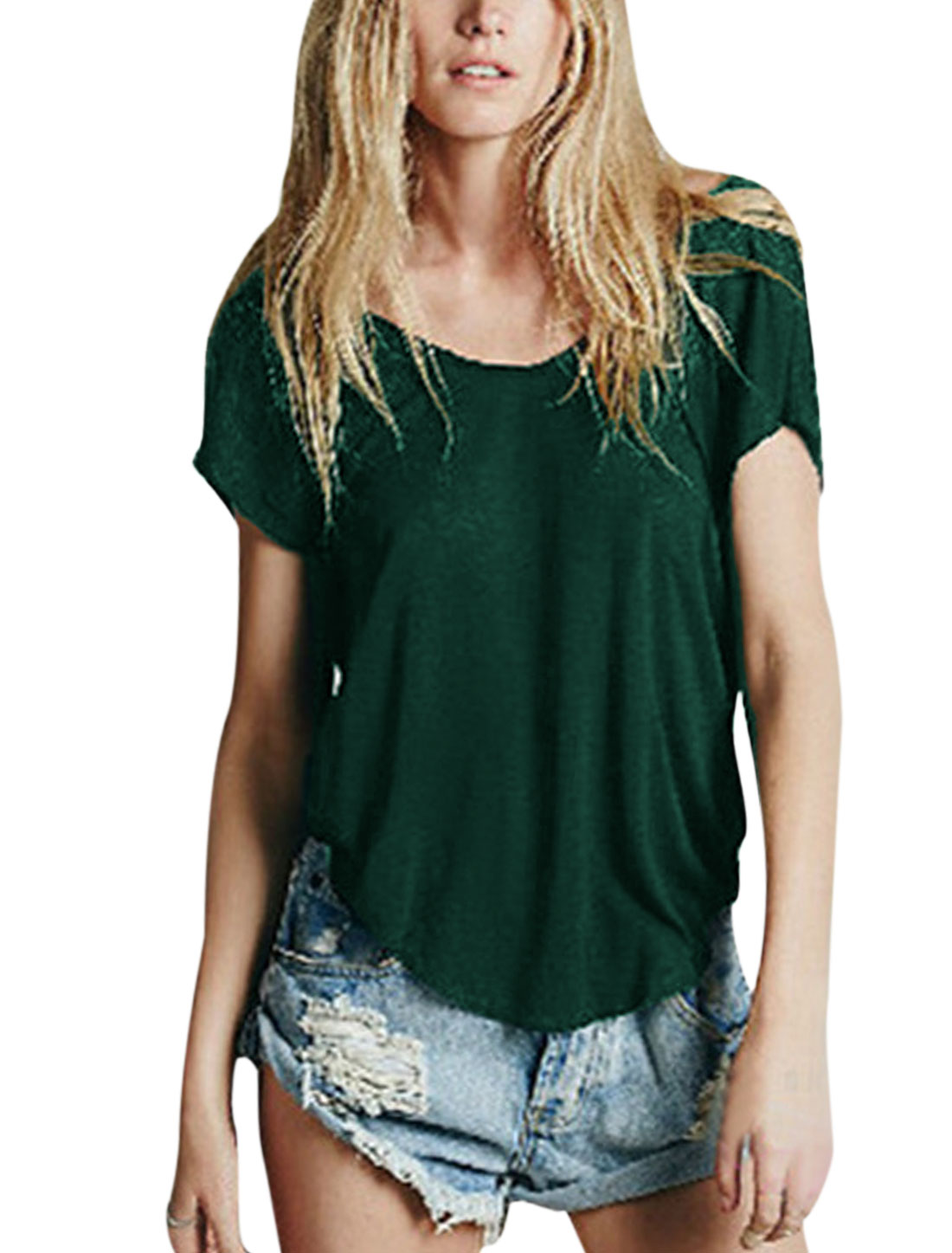 Women Round Neck Open Back Dolman Sleeves Sexy Tops Dark Green XS