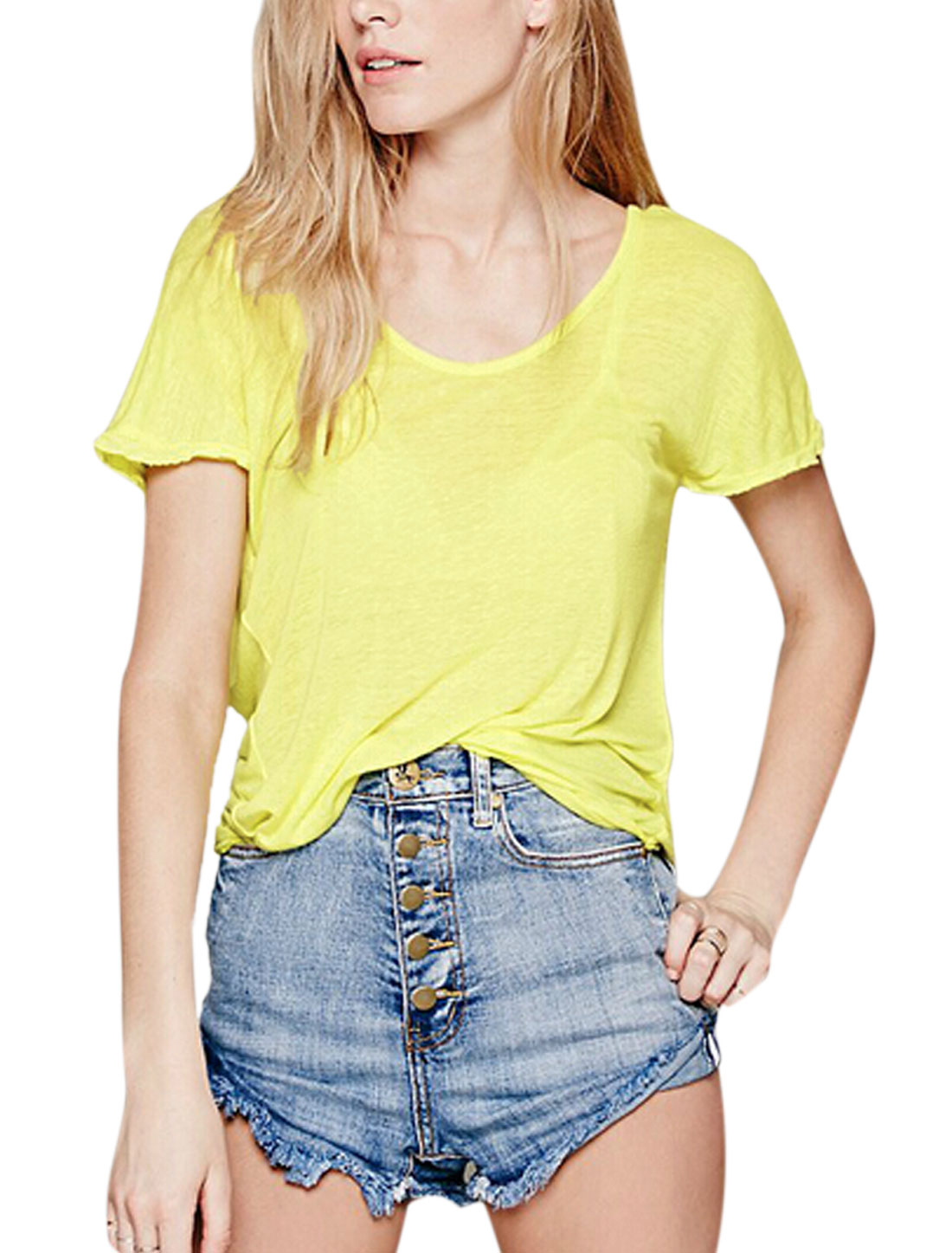 Ladies Short Sleeves Strap Knot Back Casual Shirts Yellow XS