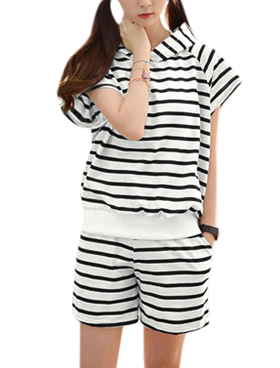 Woman Stripes Short Sleeves Hooded Top w Elastic Waist Shorts Sets Black White XS