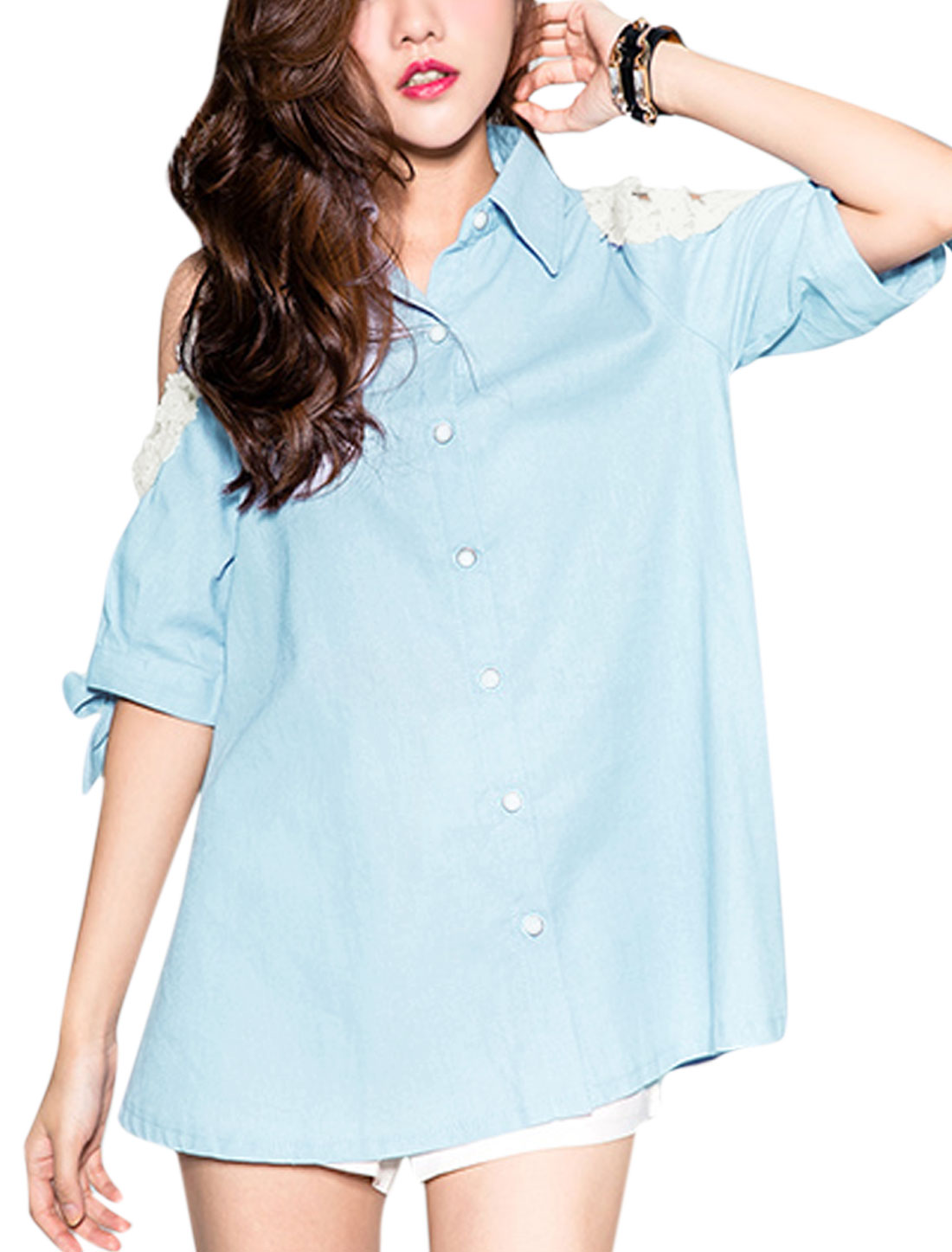 Women Point Collar Crochet Panel Self Tie Cuffs Tunic Shirts Light Blue XS