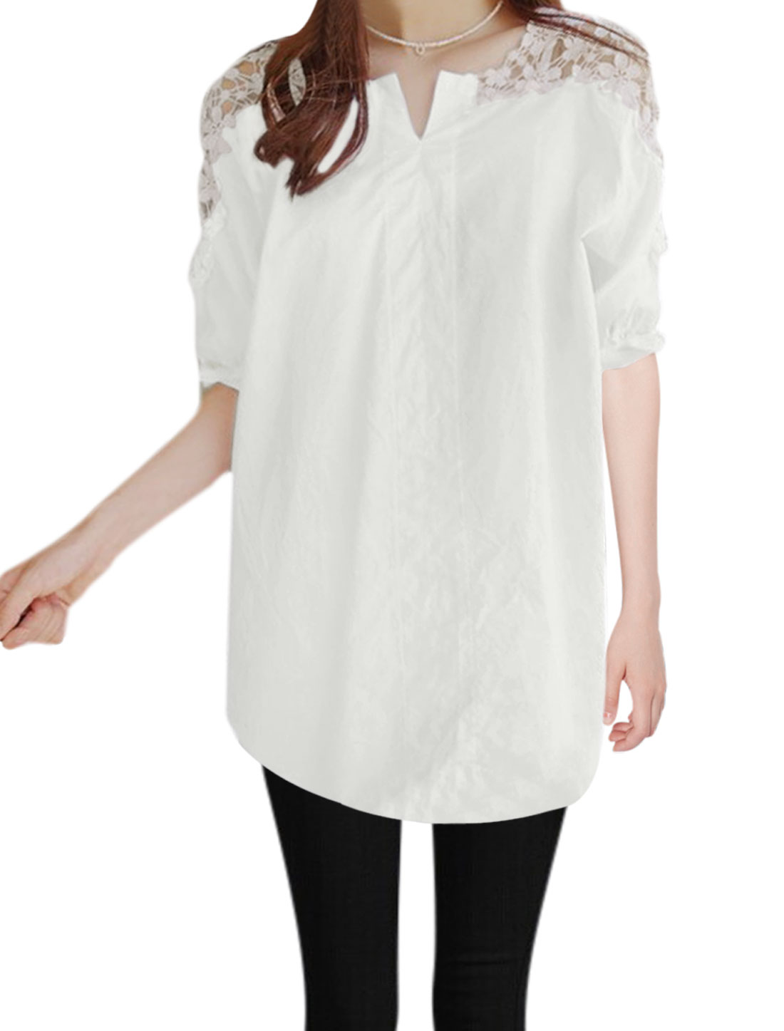 Women Split Neck Elbow Sleeves Floral Design Casual Tops White S
