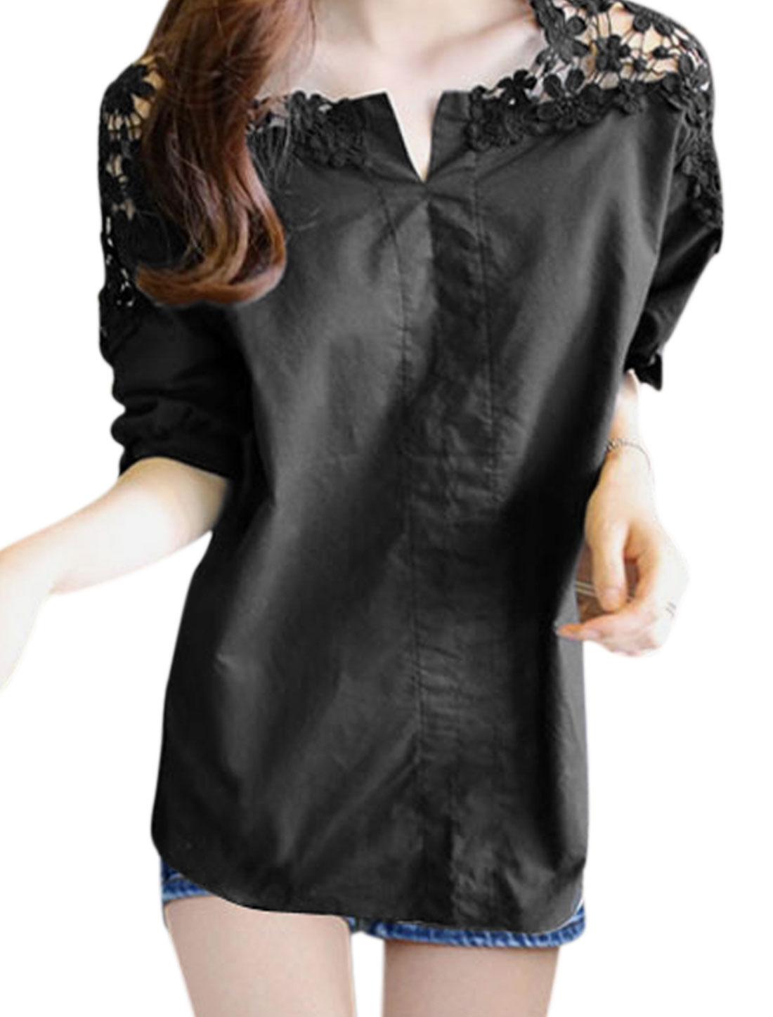 Ladies Split Neck Dolman Sleeves Blouses Black S
