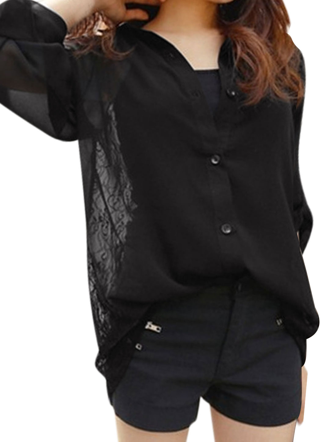 Woman Roll Up Sleeves Lace Panel Semi Sheer Chiffon Tunic Shirt Black S