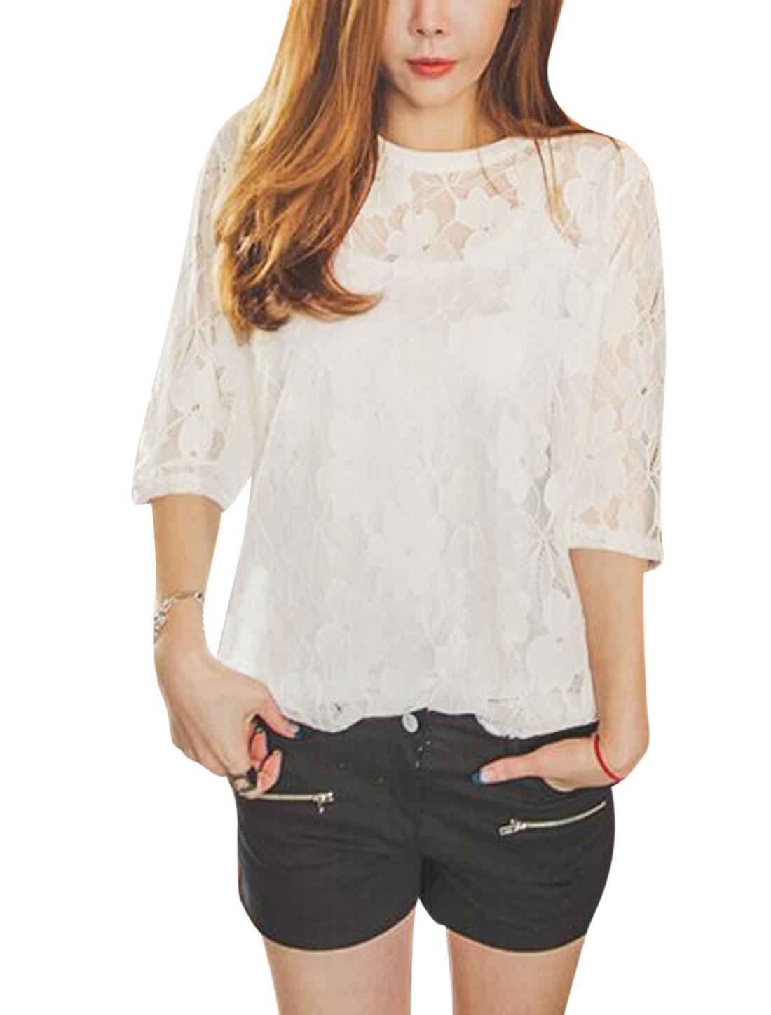 Woman U Neck Cami w Floral Design 3/4 Sleeves Lace Blouse White XS