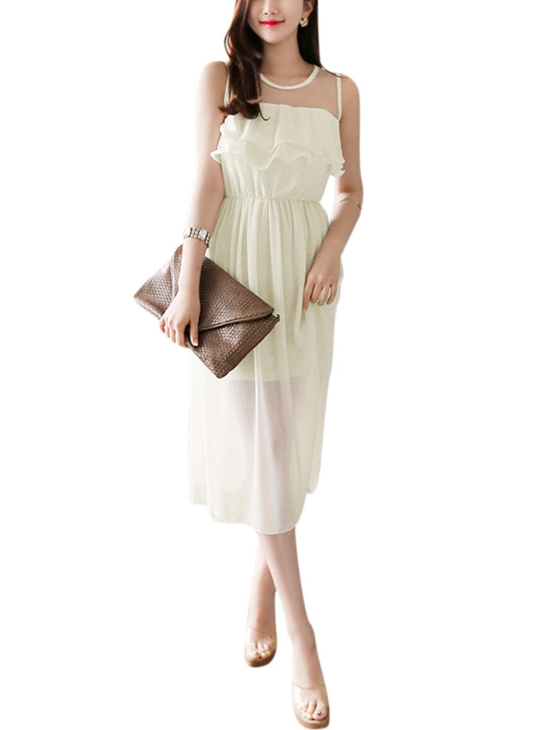 Women Mesh Panel Sleeveless Upper Casual Dresses Off White M