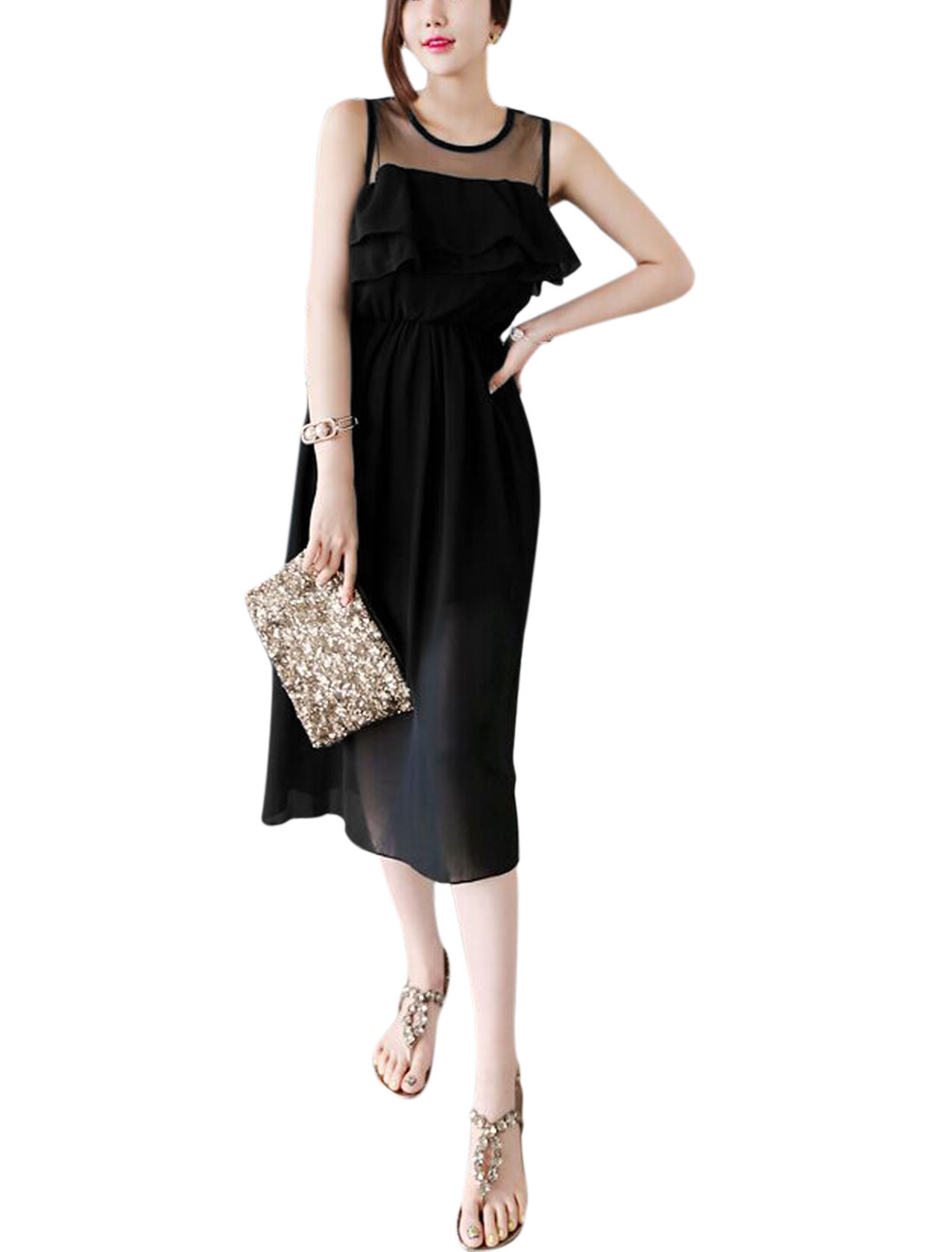 Ladies Round Neck Sleeveless Mesh Panel Casual Dresses Black M