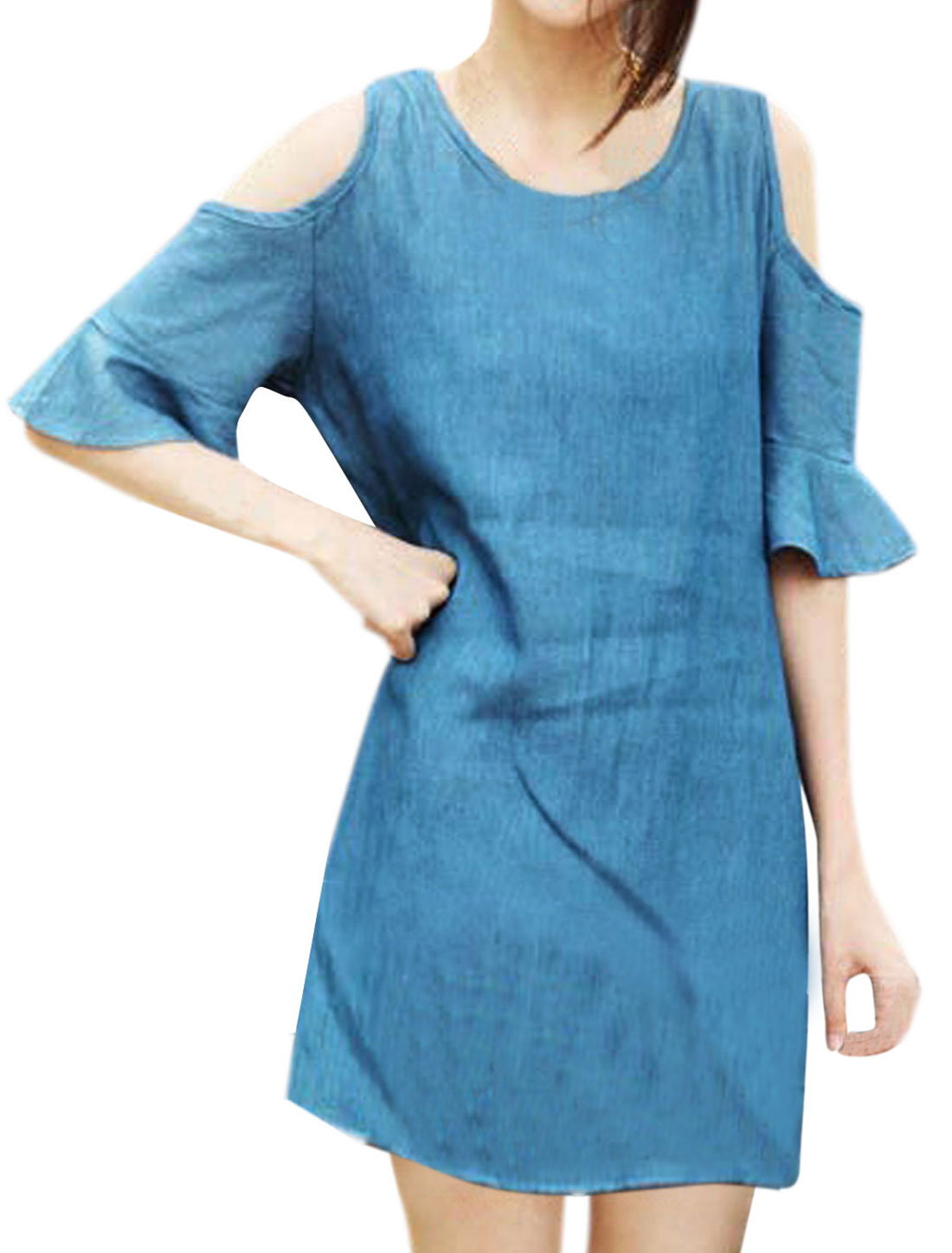 Women Round Neck Cut Out Shoulder Flouncing Cuff Tunic Dress Blue M