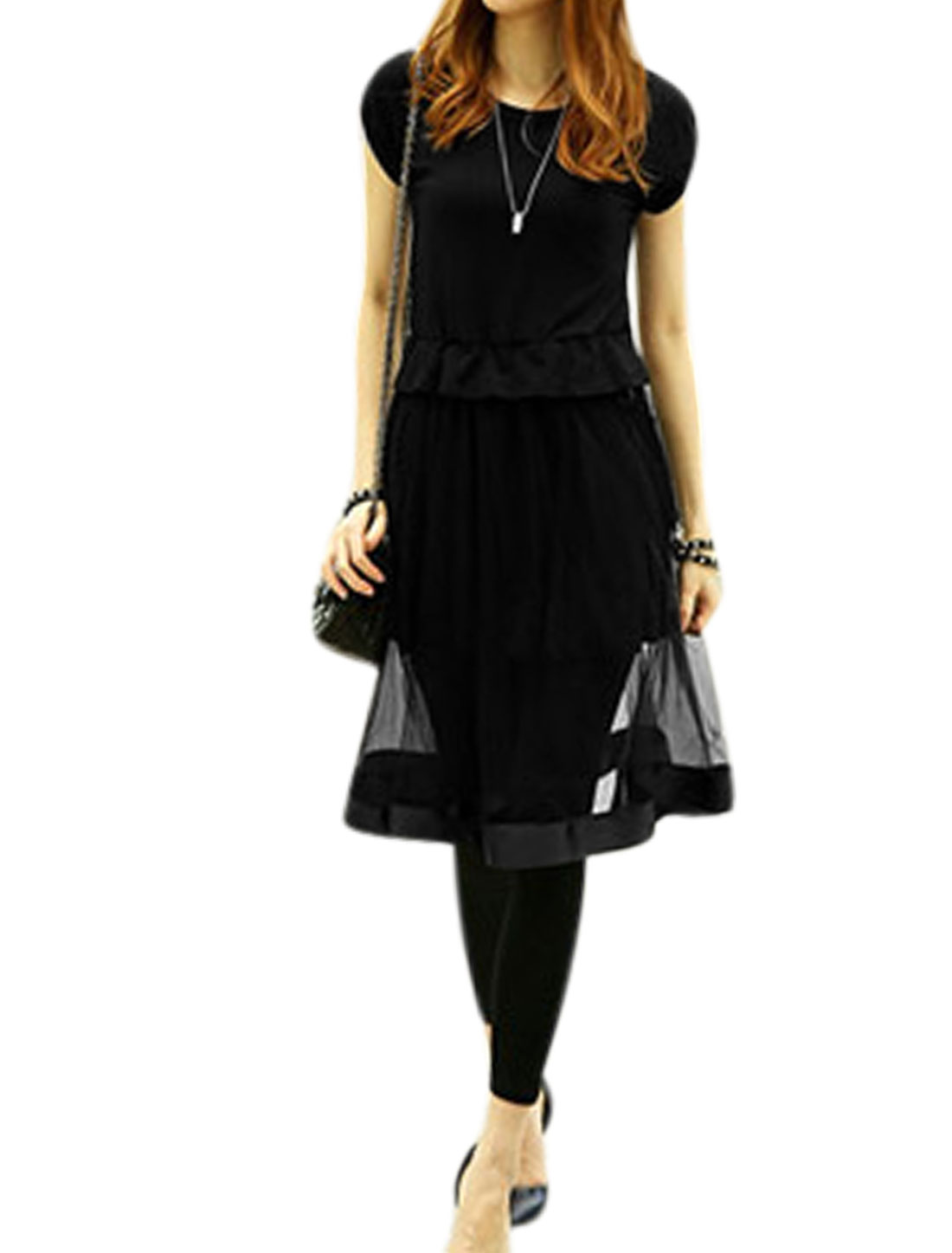 Woman Mesh Panel Elastic Flouncing Waist Slipover A Line Dress Black M