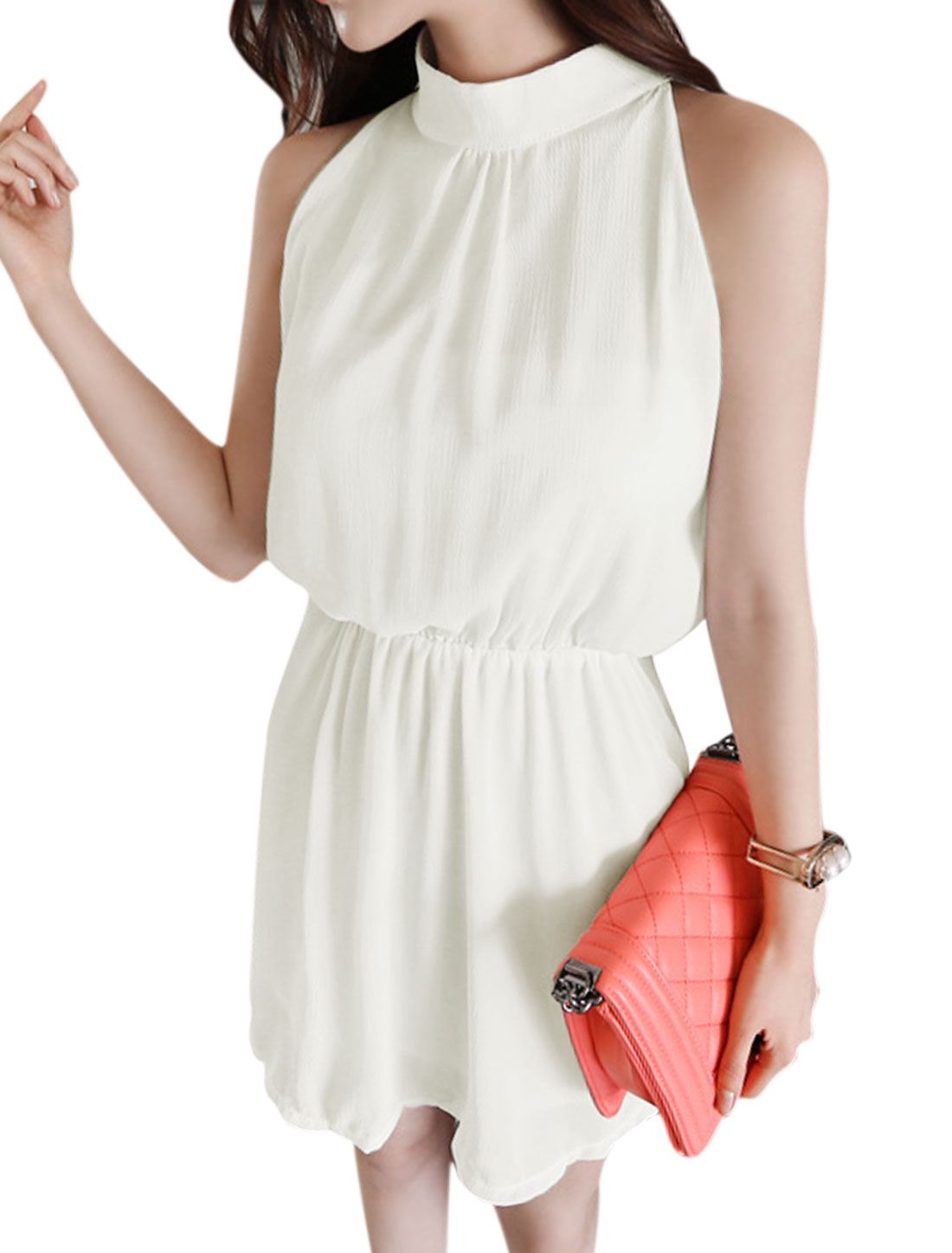 Women Halter Neck Stand Collar Sleeveless Elastic Waist Chiffon Dress White M