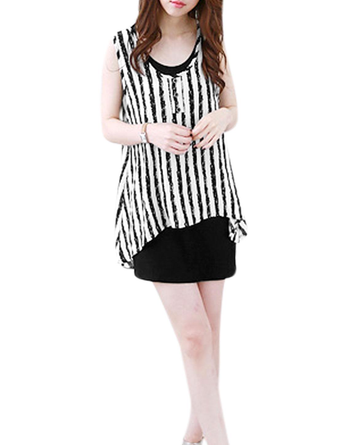 Woman Vertical Stripes Asymmetric Hem Tunic Top w Tank Dress Black White S
