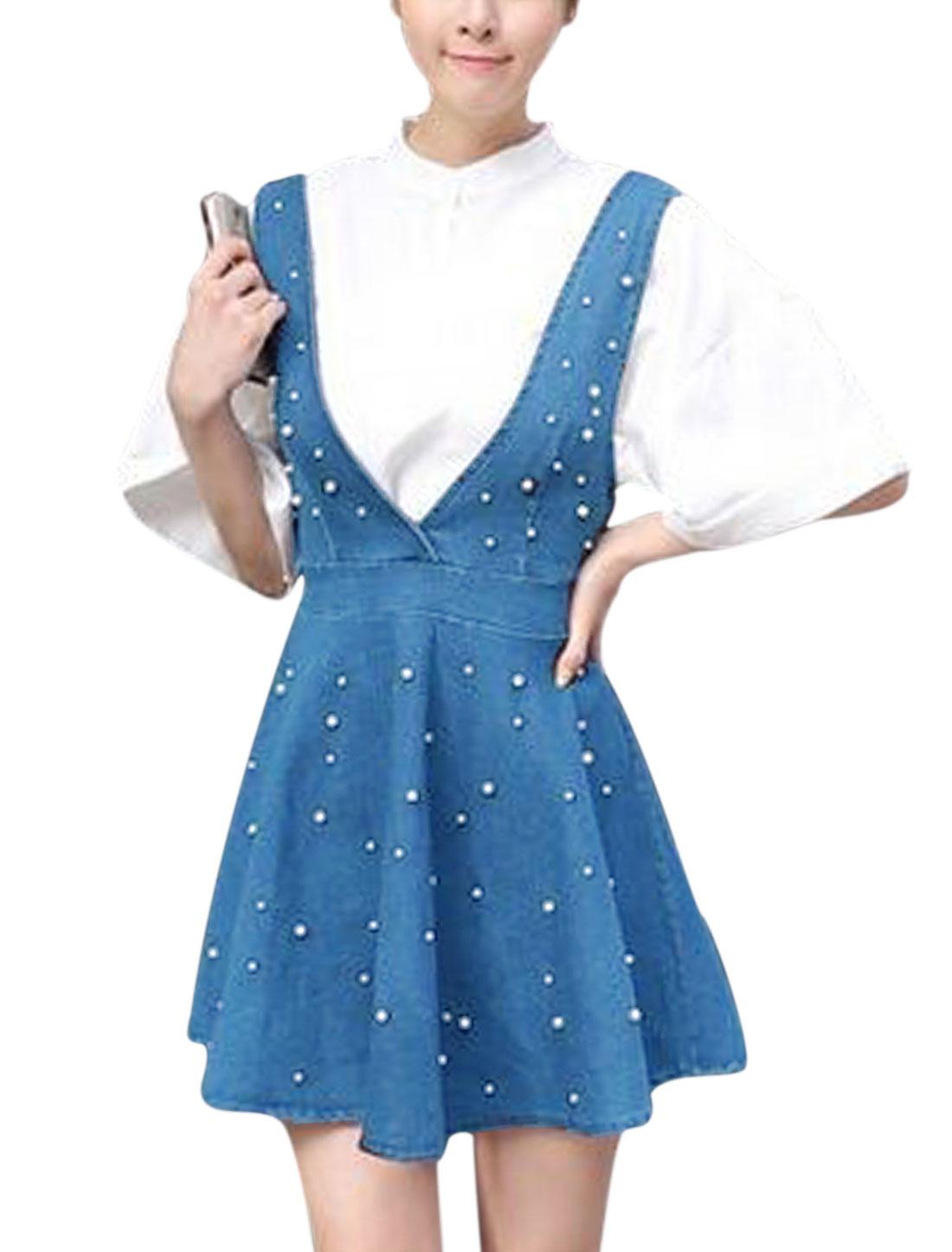Woman Beaded Concealed Zipper Back Unlined Denim Suspender Skirt Blue XS