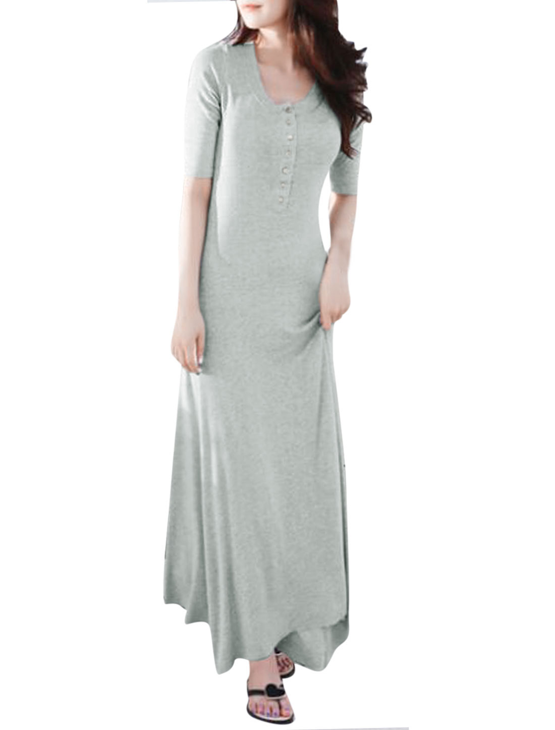 Ladies Elbow Sleeve Scoop Neck Unlined Casual Maxi Dress Light Gray M