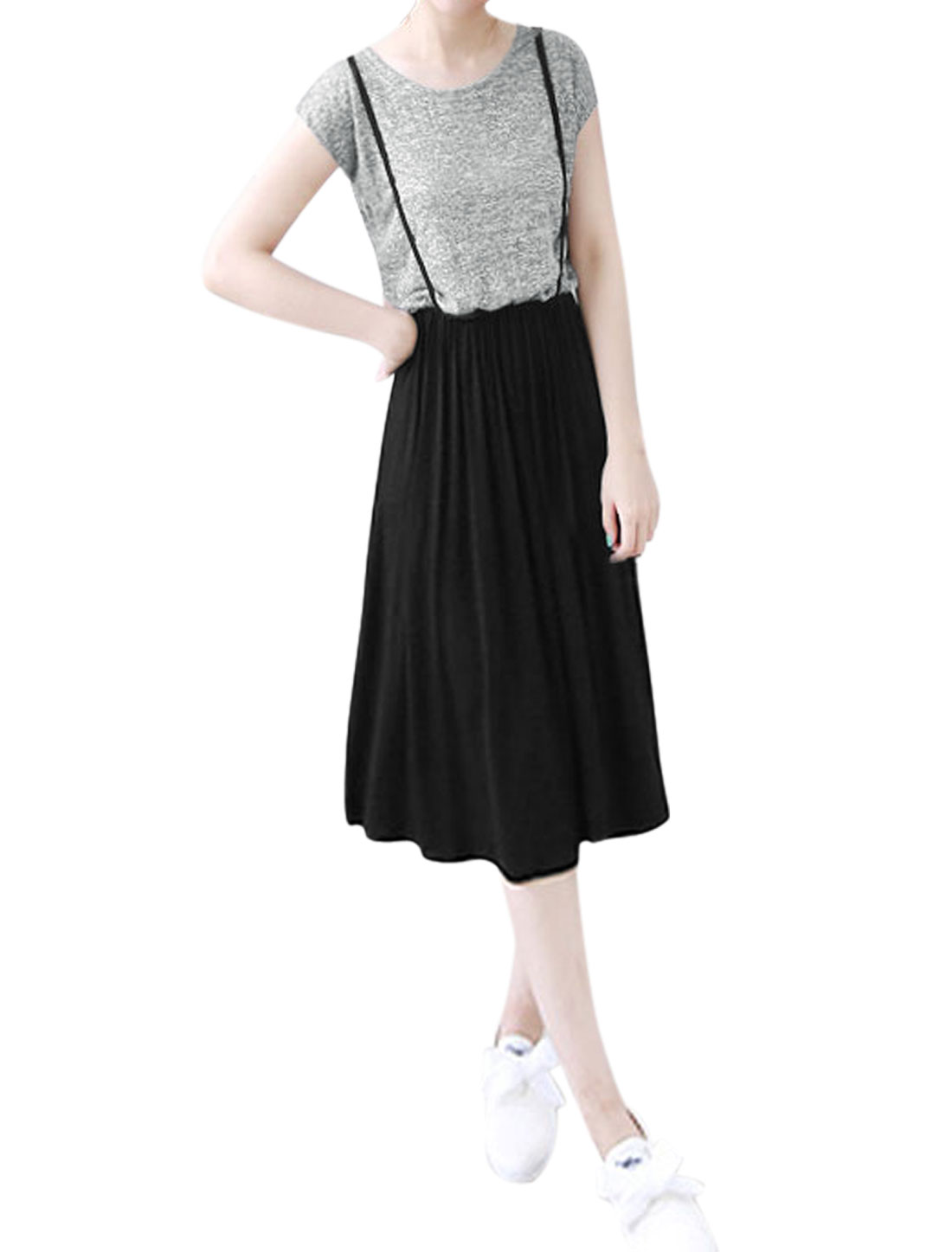 Woman Contrast Color Layered Top Round Neck Panel A Line Dress Light Gray Black M