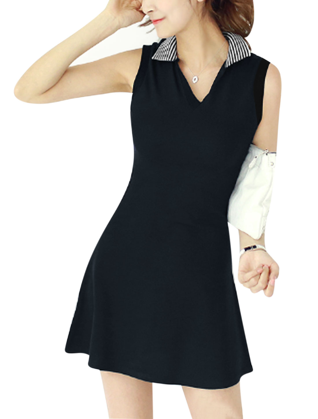 Women Turn Down Collar Sleeveless Unlined Casual Dresses Dark Blue S