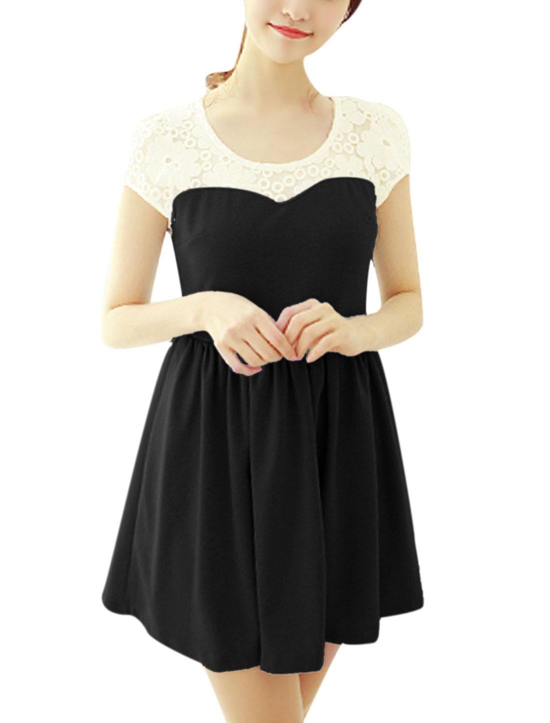 Ladies Flower Embroidery Mesh Panel Semi Sheer Yoke Mini Dress Black XS