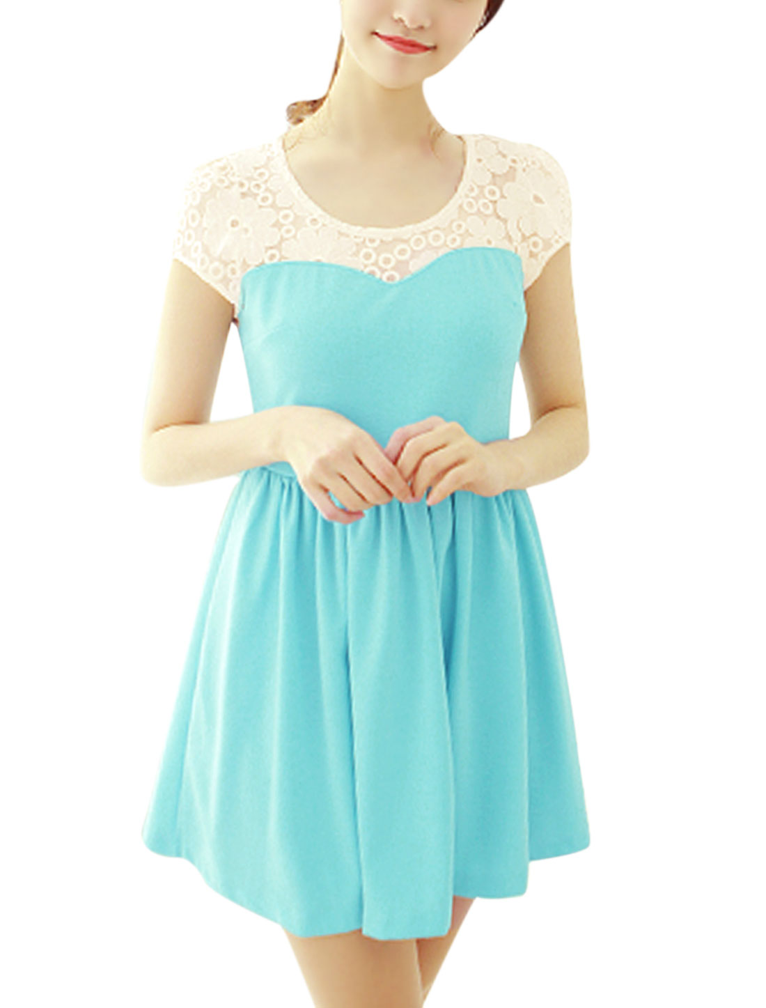 Women Mesh Panel Floral Embroidery Short Sleeves Mini Dress Aqua XS