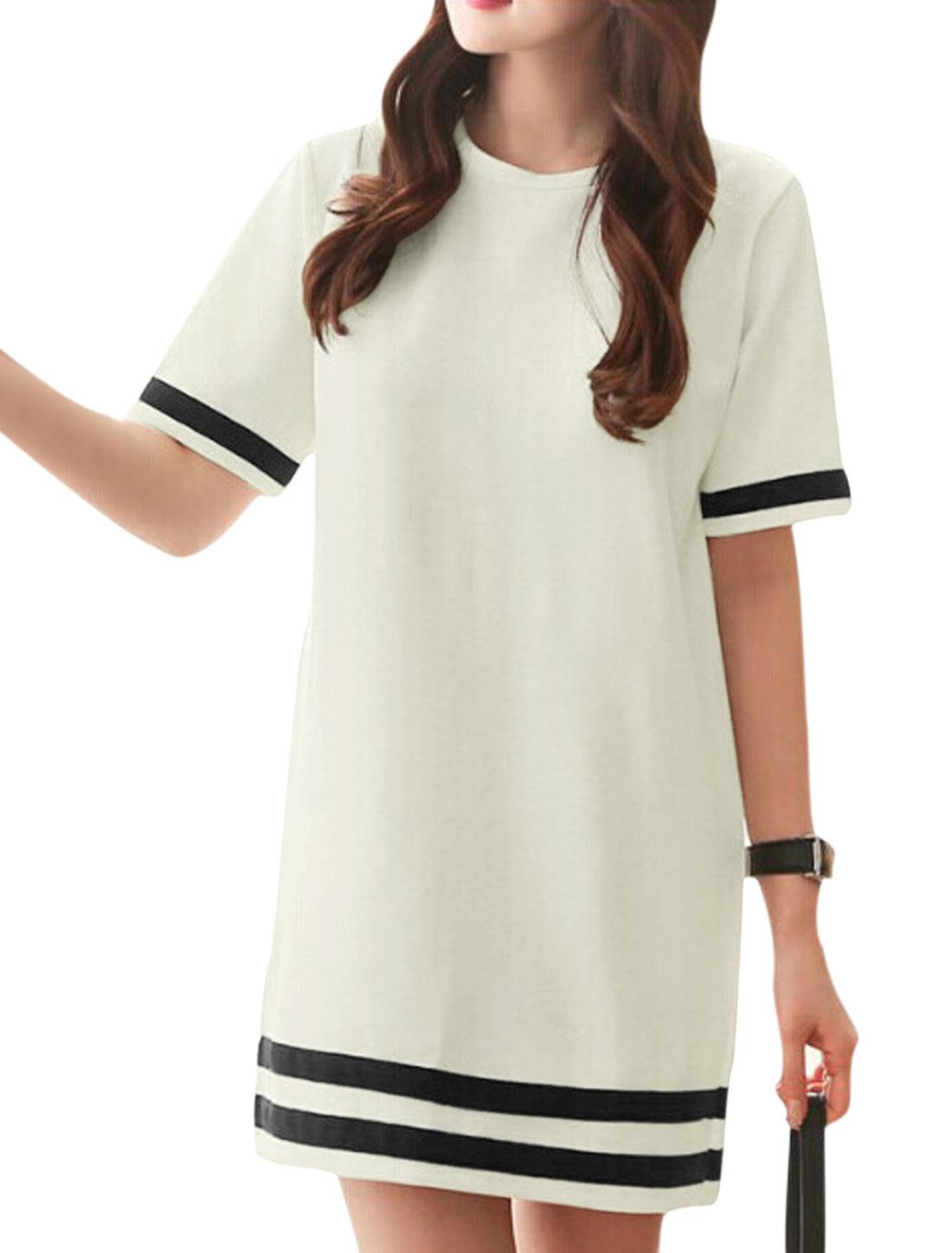 Woman Stripes Detail Round Neck Short Sleeves Shift Dress White S