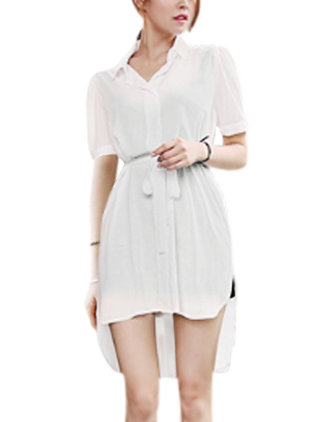 Women Hidden Button Placket Low High Hem Chiffon Tunic Shirts White S