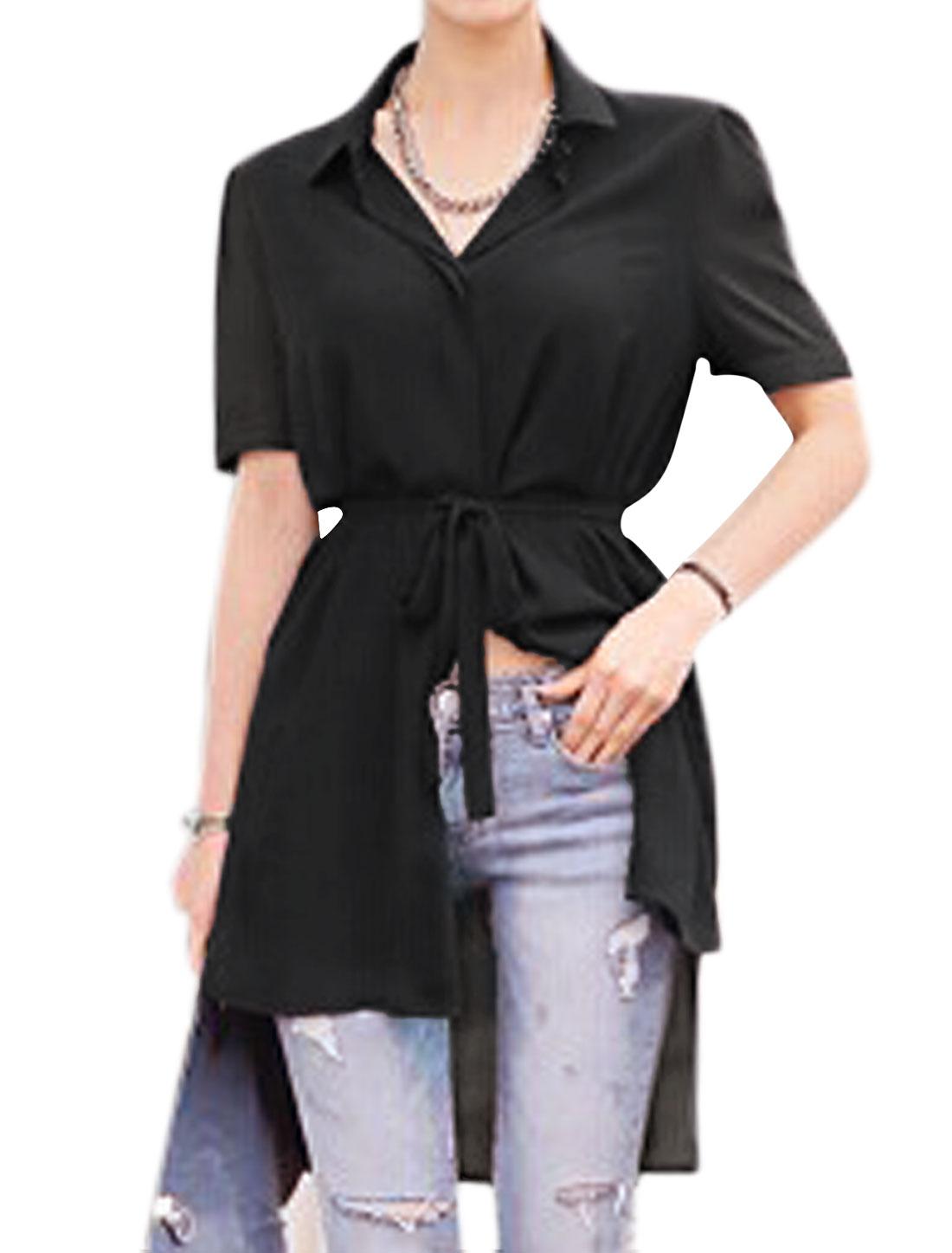 Lady Short Sleeves Hidden Button Placket Chiffon Tunic Shirts Black S