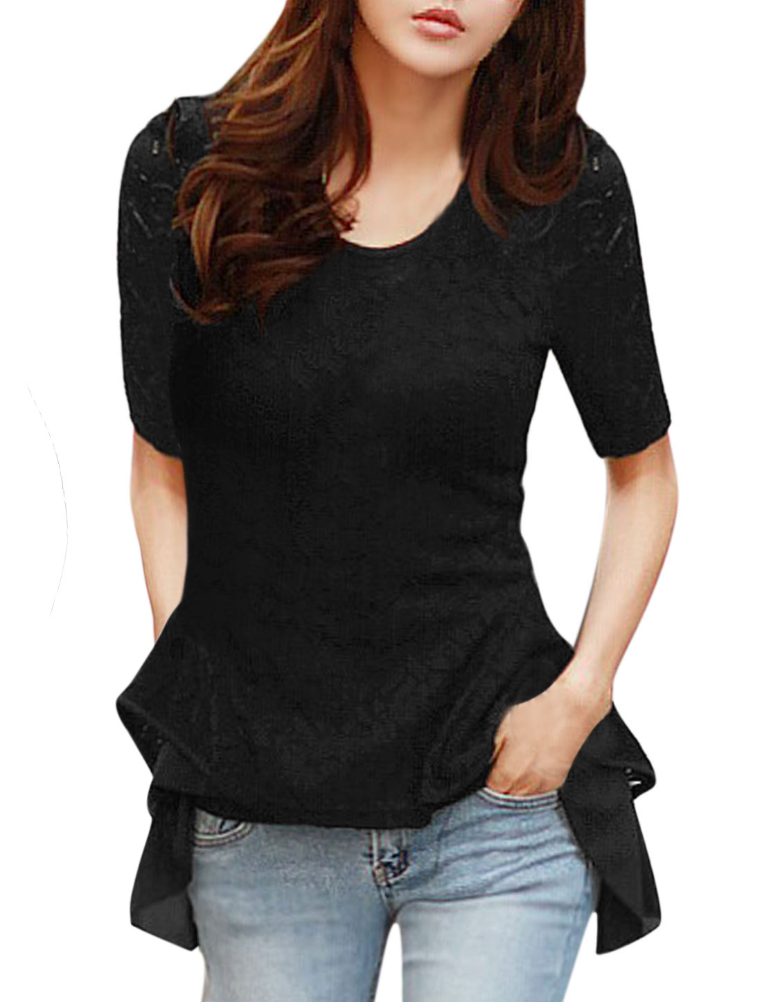 Women Short Sleeves Panel Design Irregular Hem Lace Tops Black S