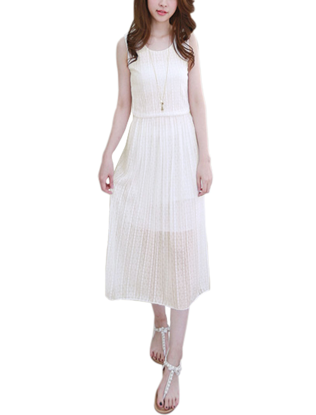 Woman Round Neck Sleeveless Partially Lined Lace Dress White XS