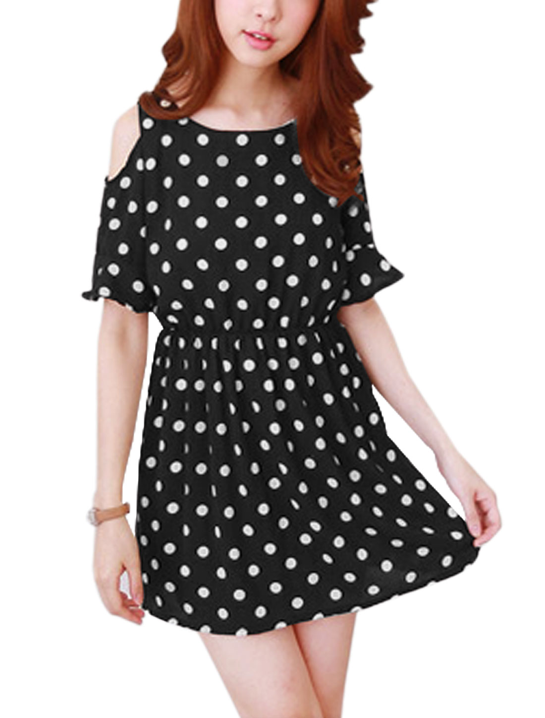 Woman Polka Dots Prints Cold Shoulder Elastic Waist A Line Dress Black XS
