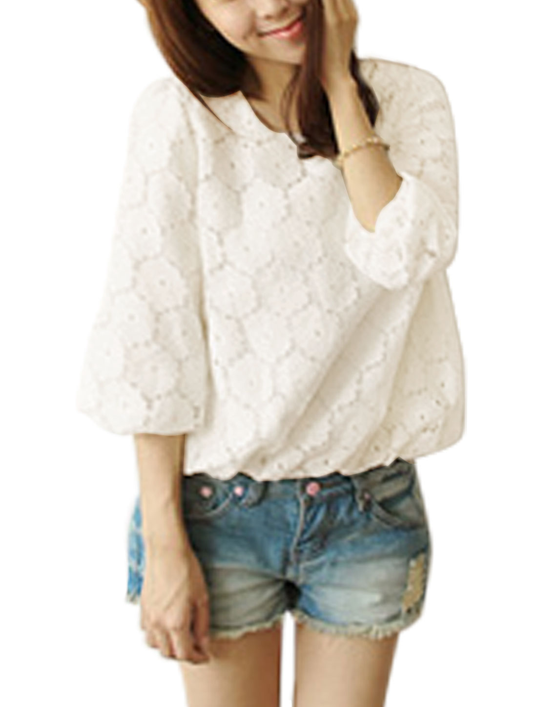 Woman Floral Design Round Neck 3/4 Sleeves Lace Blouse White XS