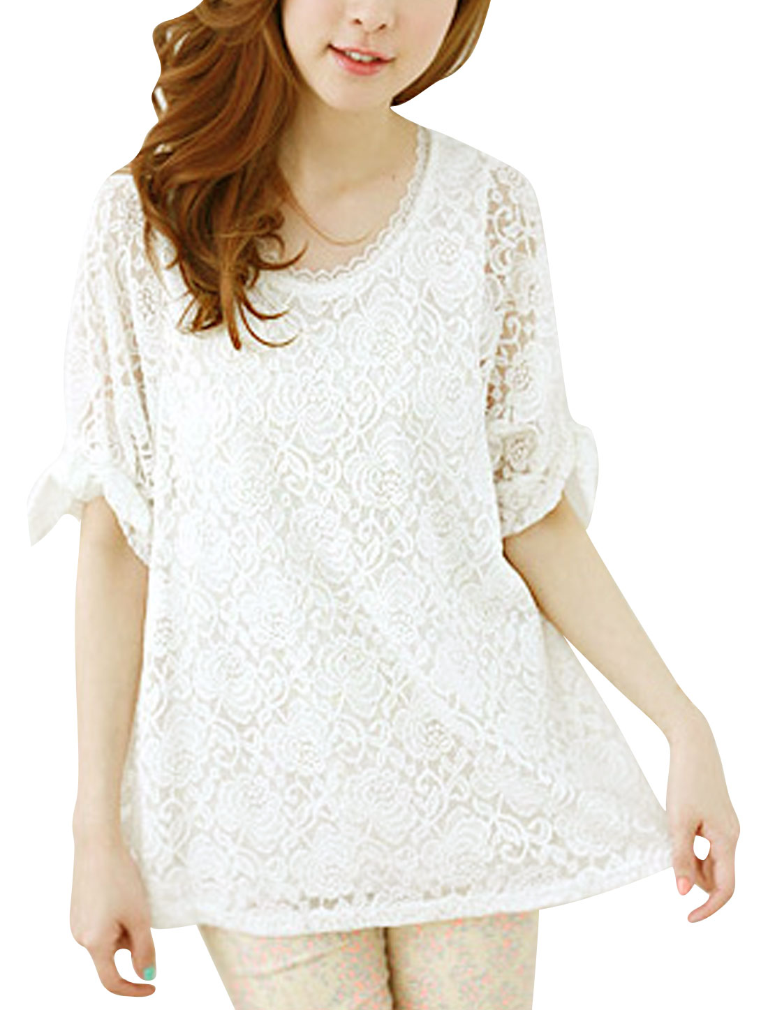 Ladies Elbow Sleeves Self Tie Cuffs Floral Lace Tops White XS