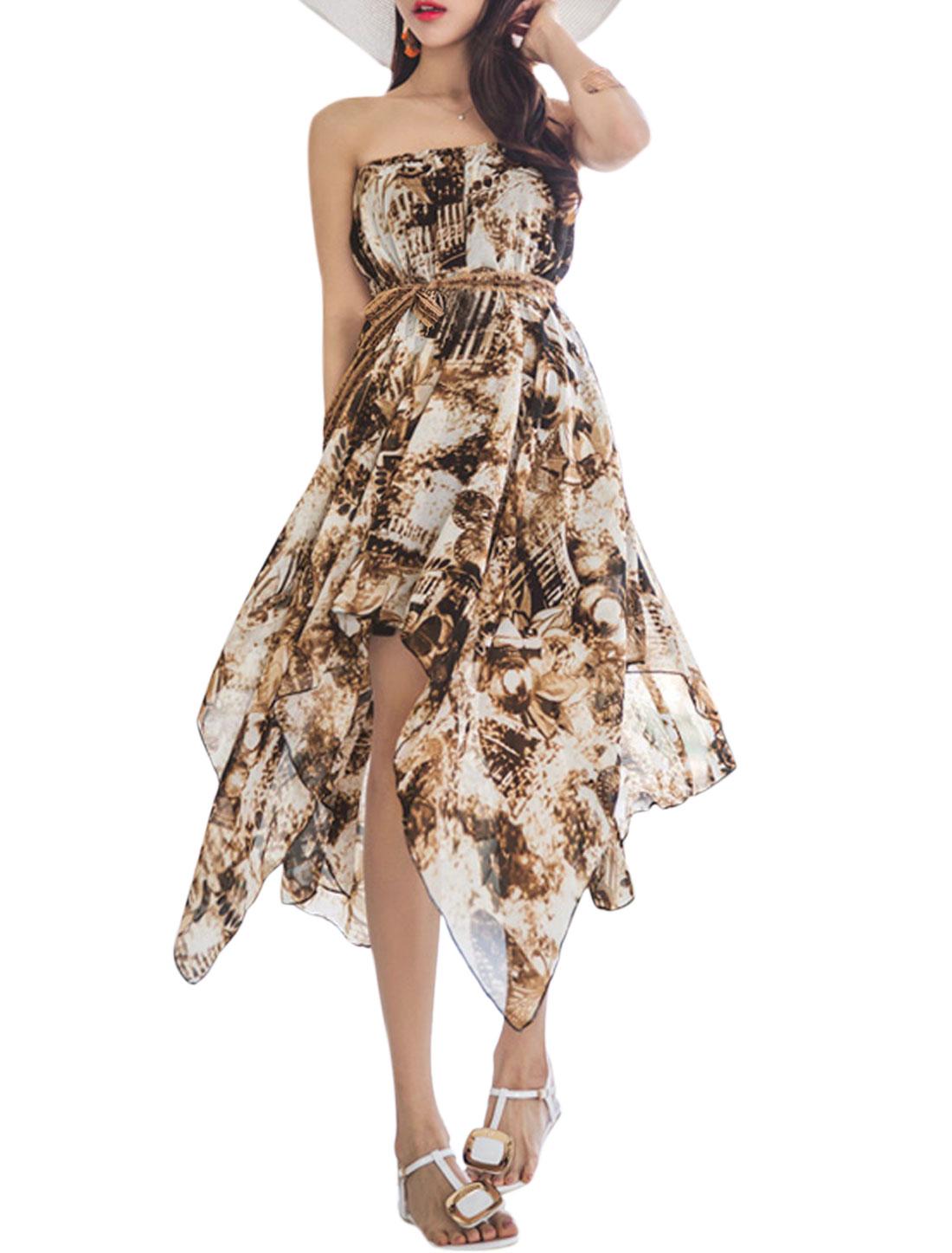 Ladies Strapless Asymmetrical Hem Scenery Print Dress Wihte Coffee XS