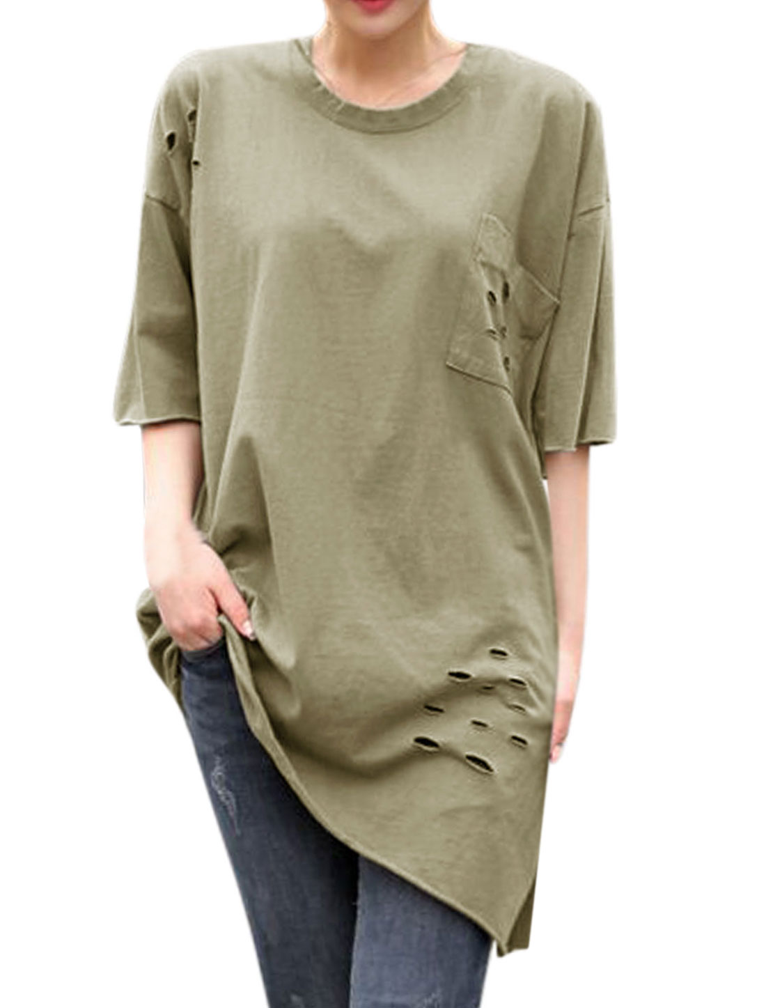 Women Asymmetric Hem Hollow Out Detail Longline Tee Army Green XS